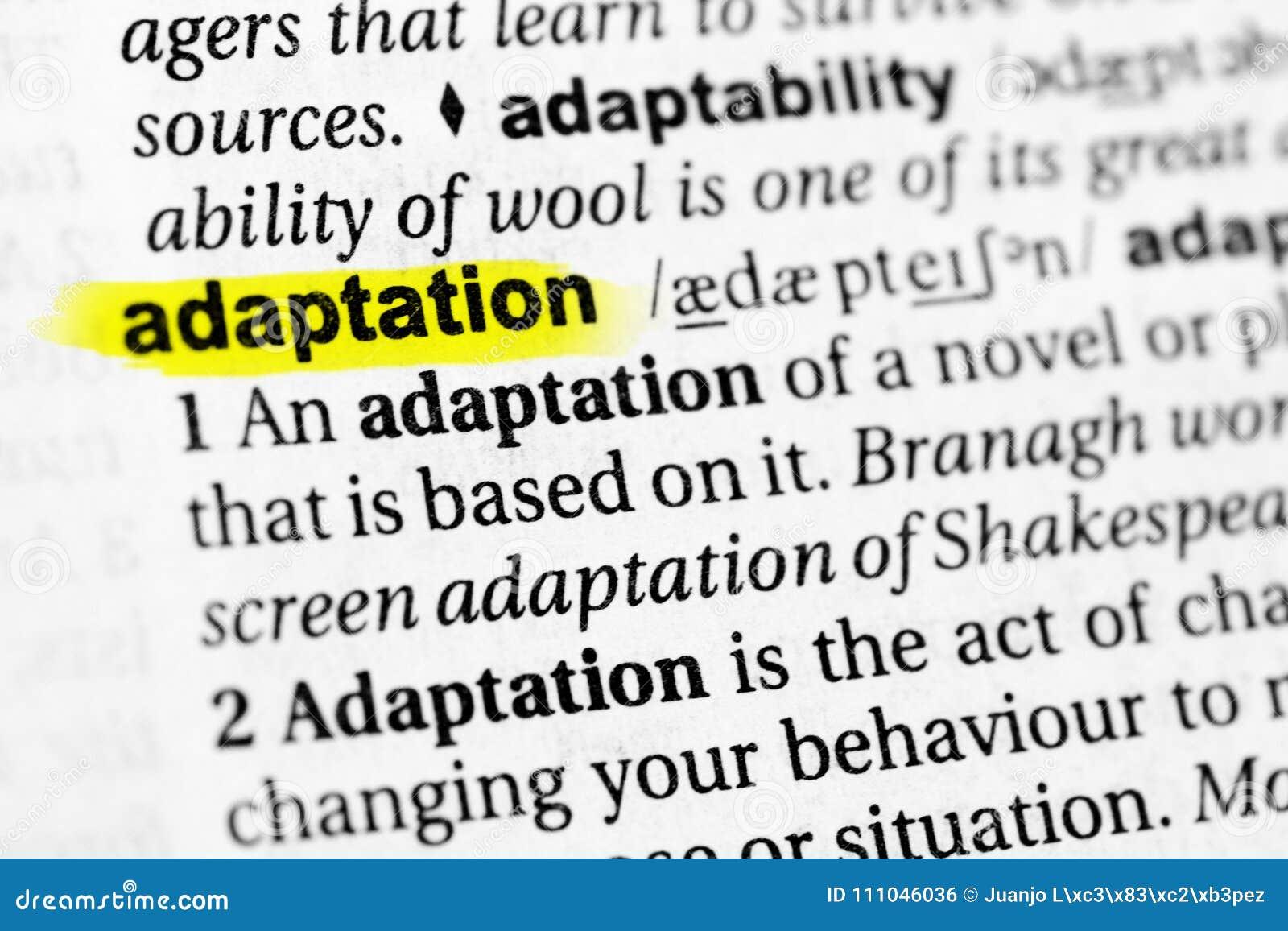 ` Anglais accentué d adaptation de ` de mot et sa définition dans le dictionnaire