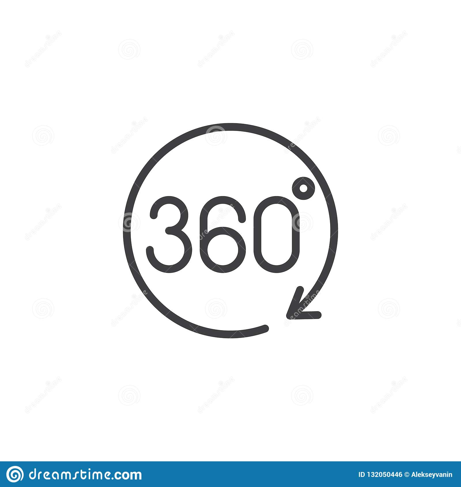 360 degrees rotation icon. Sign of rotation. Rotate application or sign with circle arrow
