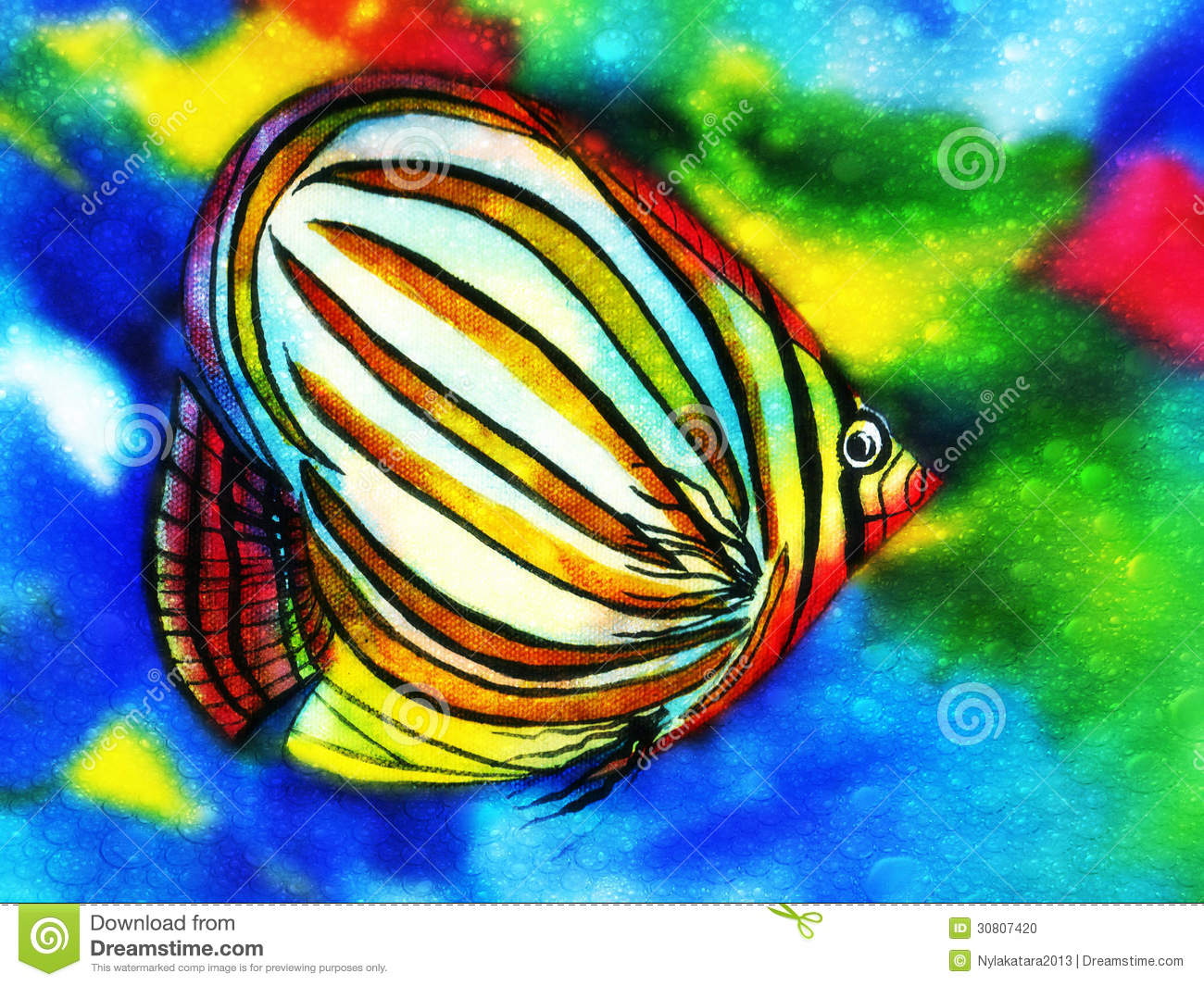 Angel Fish Watercolor With Water Bubbles Stock