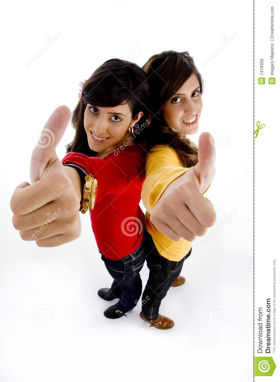 Angle high models showing thumb up view young