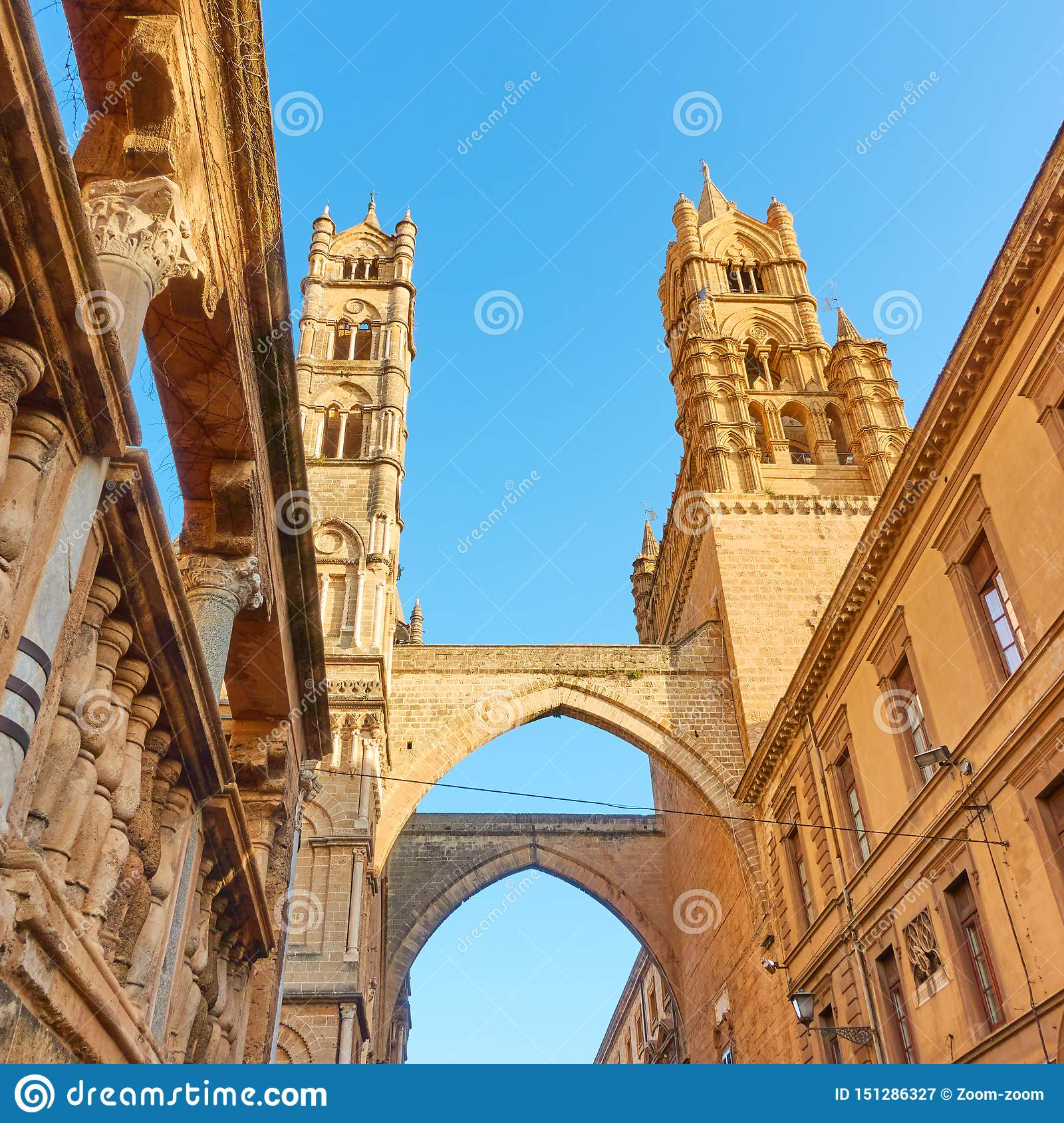 Towers Of Palermo Cathedral Stock Image - Image of ...