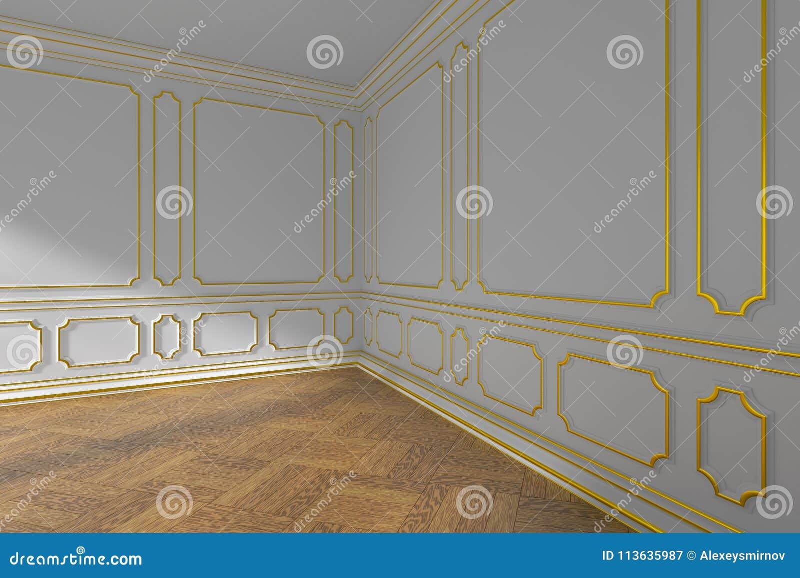 Angle De Plinthe Parquet angle vide blanc de pièce avec le bâti et le parquet d'or