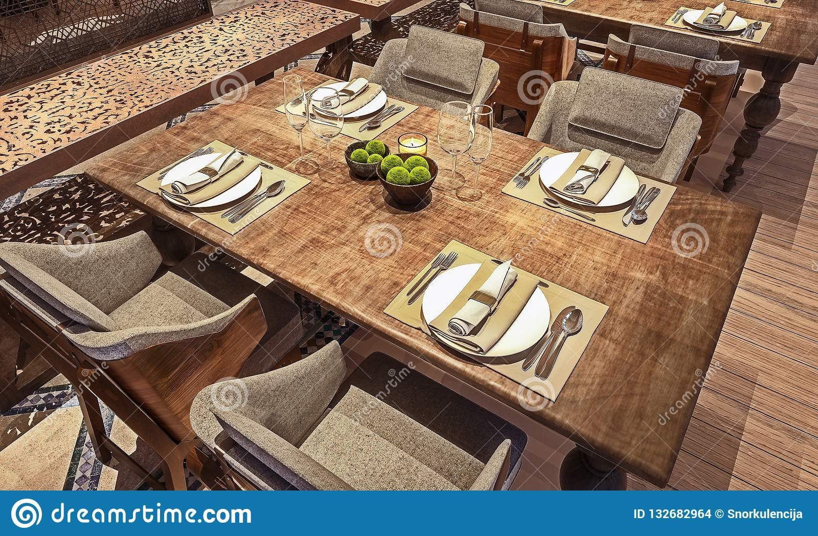 Angle View Of Table Setup For Modern Arabic Restaurant Concept Wooden Distressed Table 3d Render Stock Photo Image Of Dinner Ideas 132682964