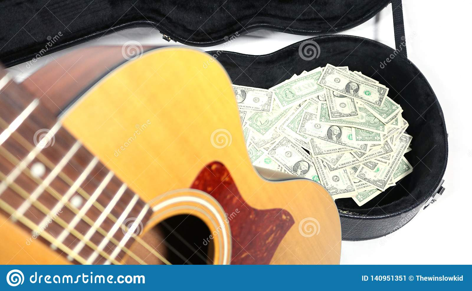 b6cbecde4e0 Making money with music. Partial acoustic guitar, guitar case filled with  money, acoustic guitar up close and out of focus, money in case in the  distance, ...