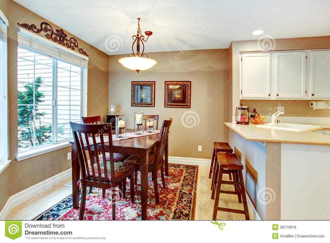 Angled Cozy Dining Room Royalty Free Stock Images