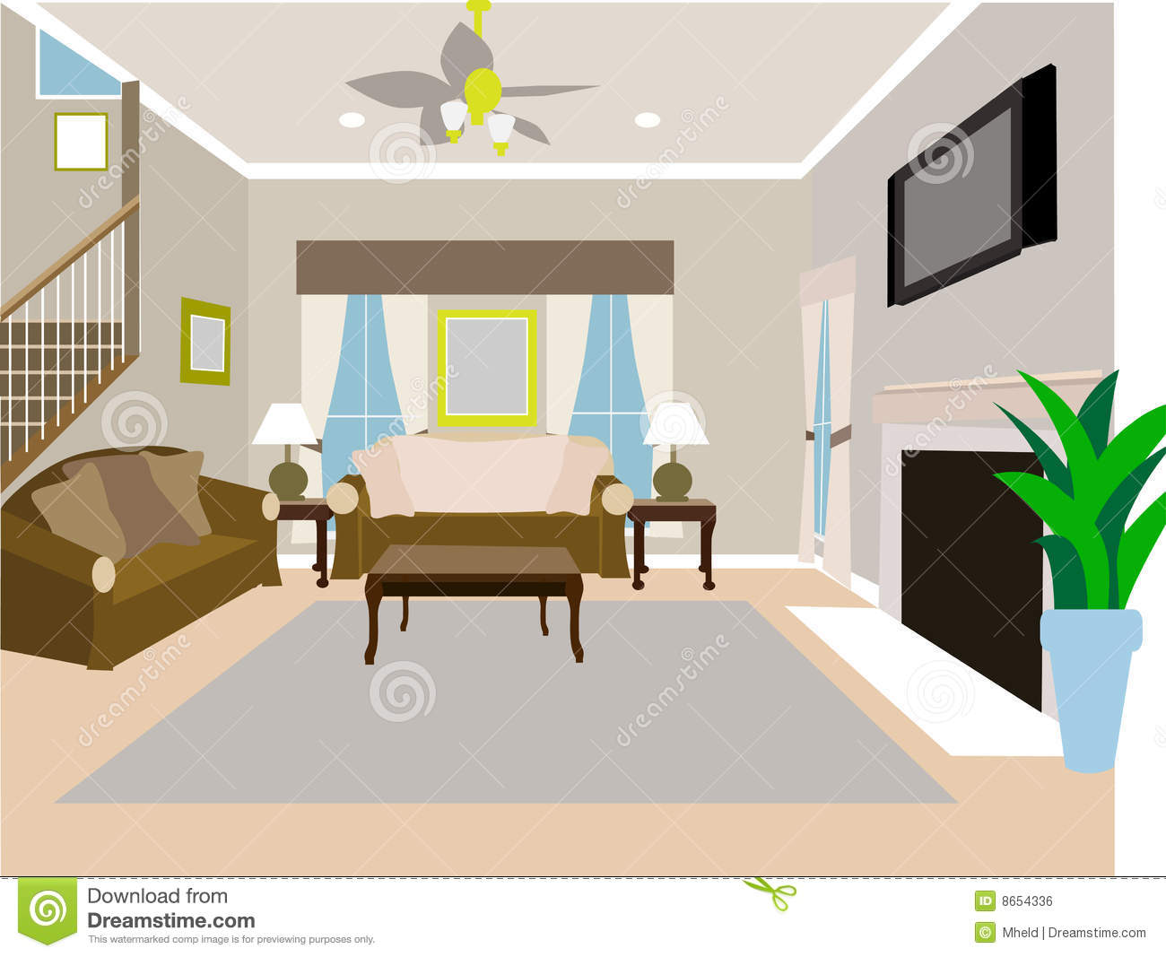 Angled Modern Living Room Of Two Story House Stock Vector