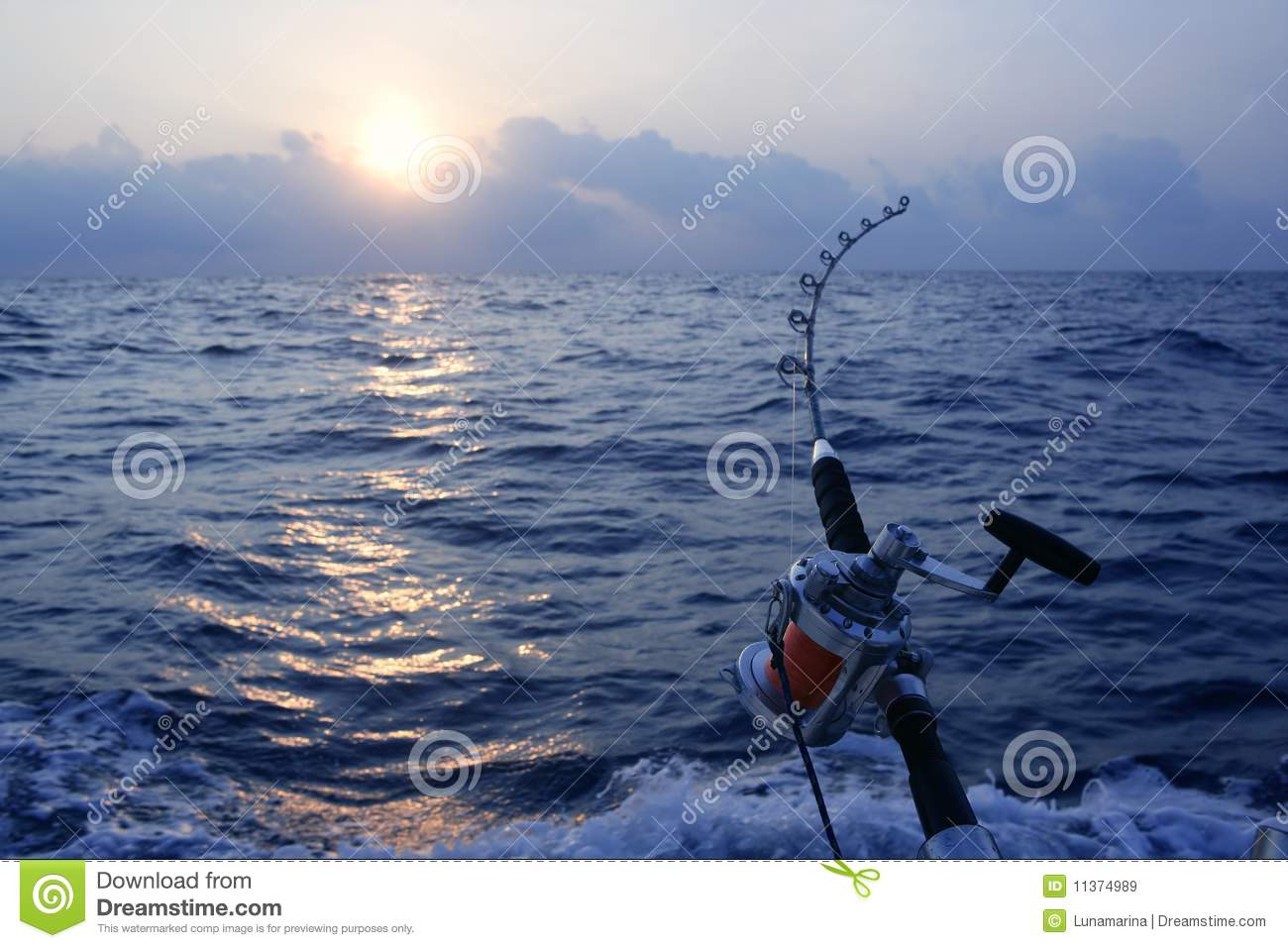 Angler boat big game fishing in saltwater royalty free for Saltwater fishing video