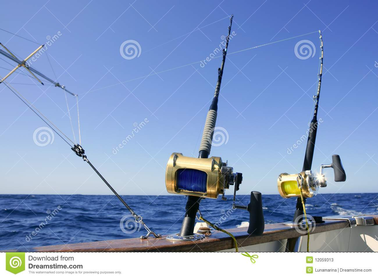 Angler boat big game fishing in saltwater stock photos for Fishing boat games