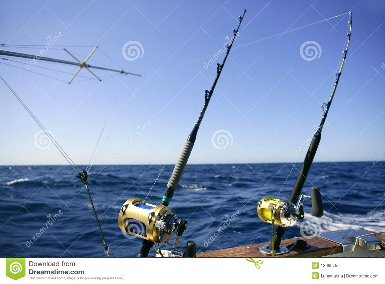 Angler boat big game fishing in saltwater stock photo for Large fishing boats