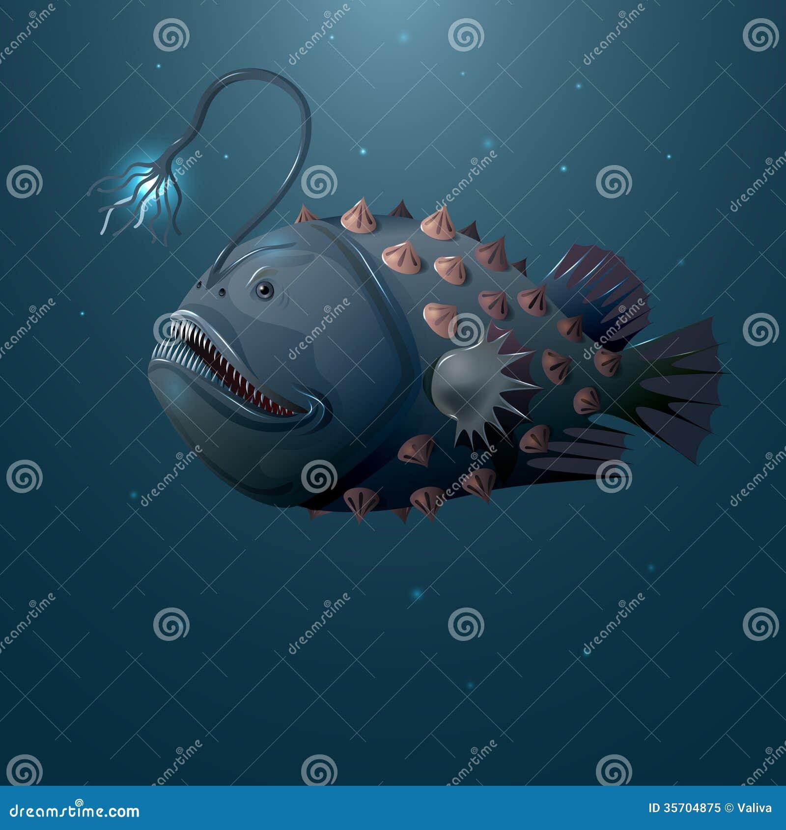 Angler fish stock vector image of flash dark aquatic for Deep water fish