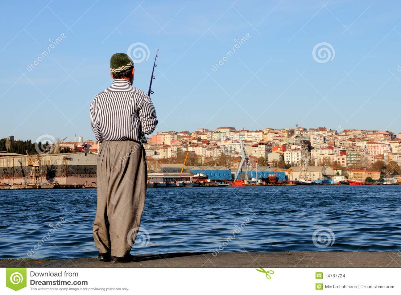 angler fishing in the city stock images image 14787724