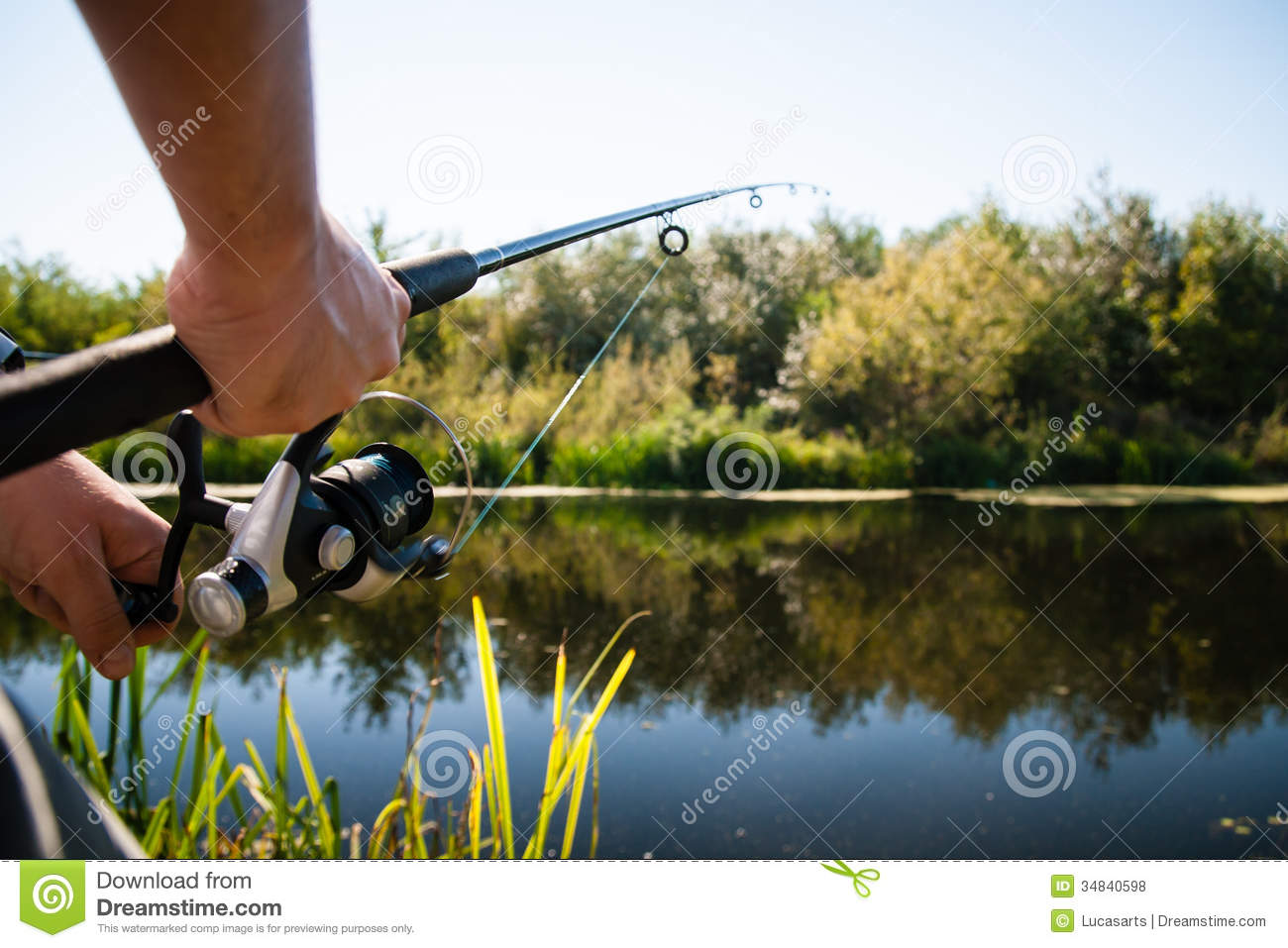 Angler fishing in river