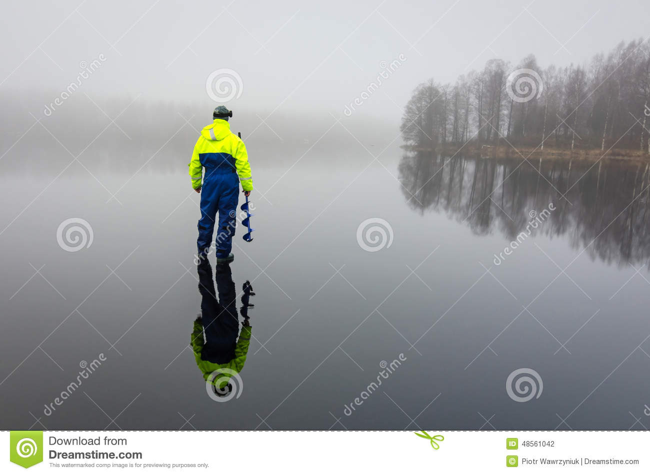 Angler with ice drill