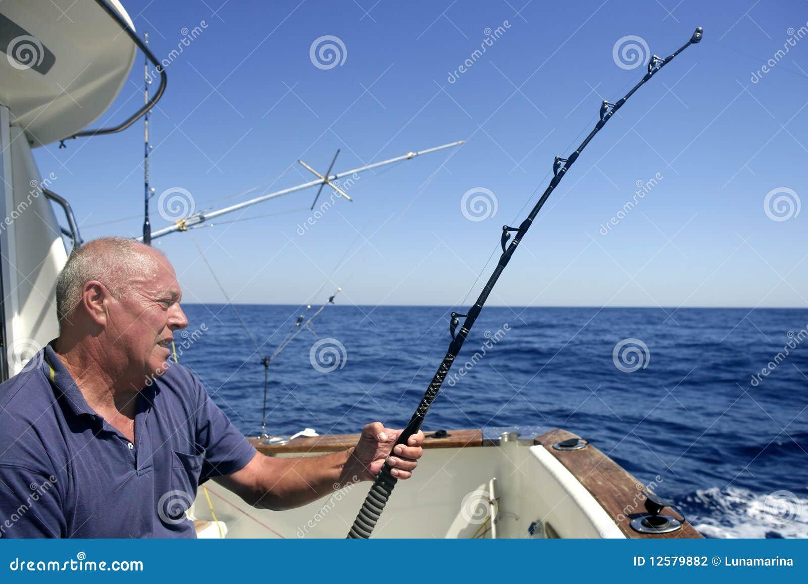 Angler Senior Big Game Sport Fishing Boat Stock Photography - Image ...