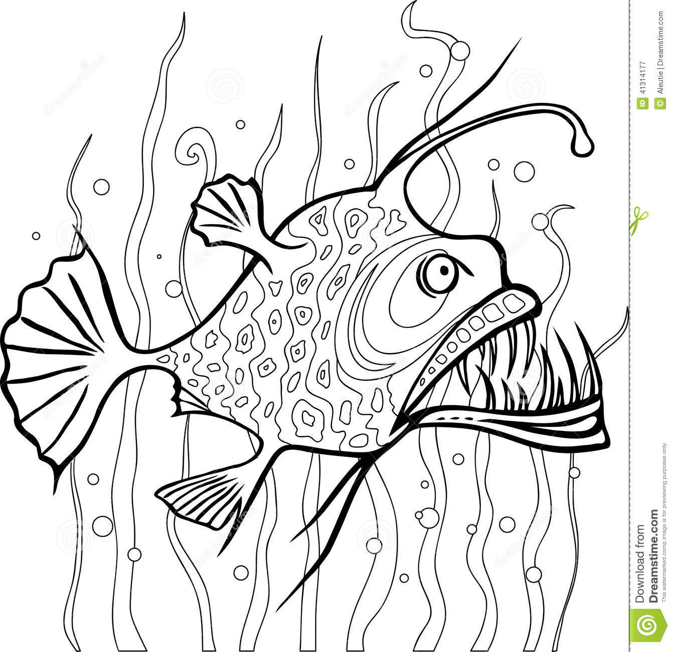 Line Drawing Of Water Animals : Anglerfish coloring page stock vector illustration of