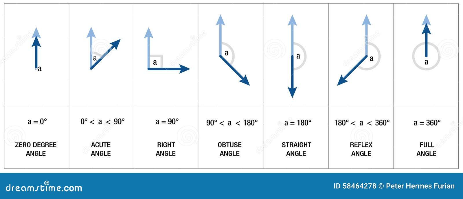 Angles Types Geometry Trigonometry Stock Vector - Image: 58464278