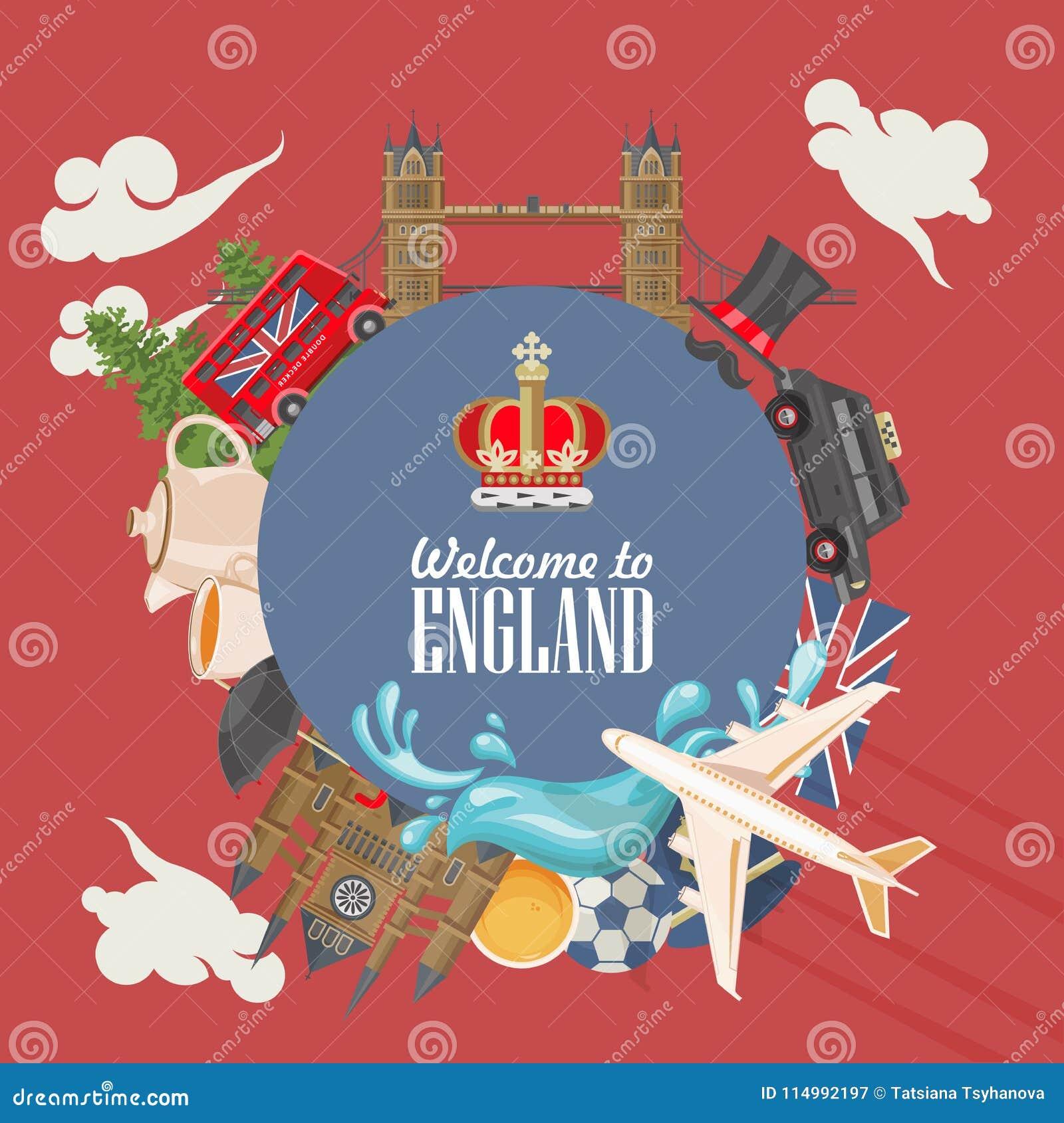 Anglia podróży wektoru ilustracja okręgu kształt Wakacje w Zjednoczone Królestwo Wielki Brytania tło Podróż UK