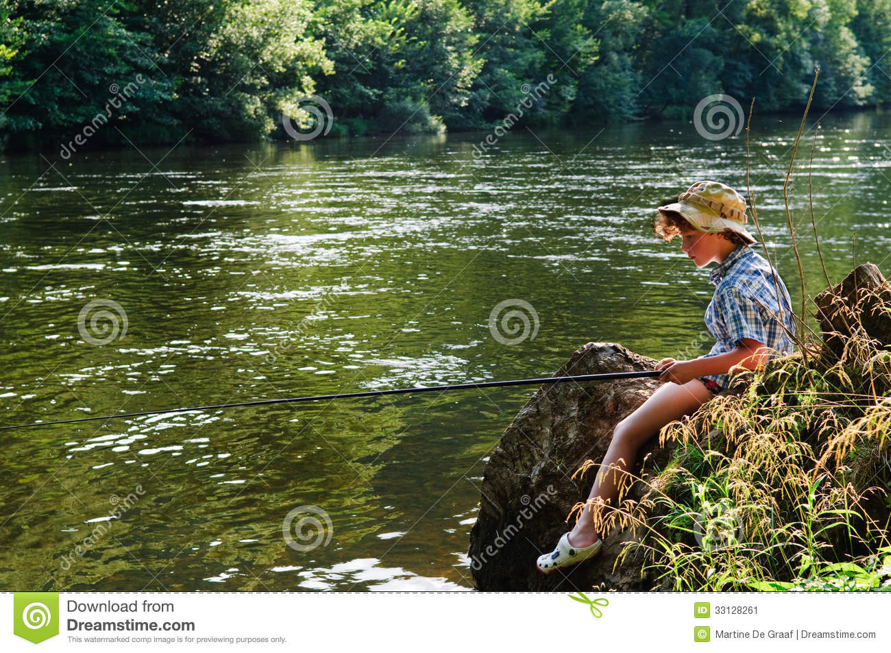 Angling kid by river stock image image of young little for Little kid fishing pole