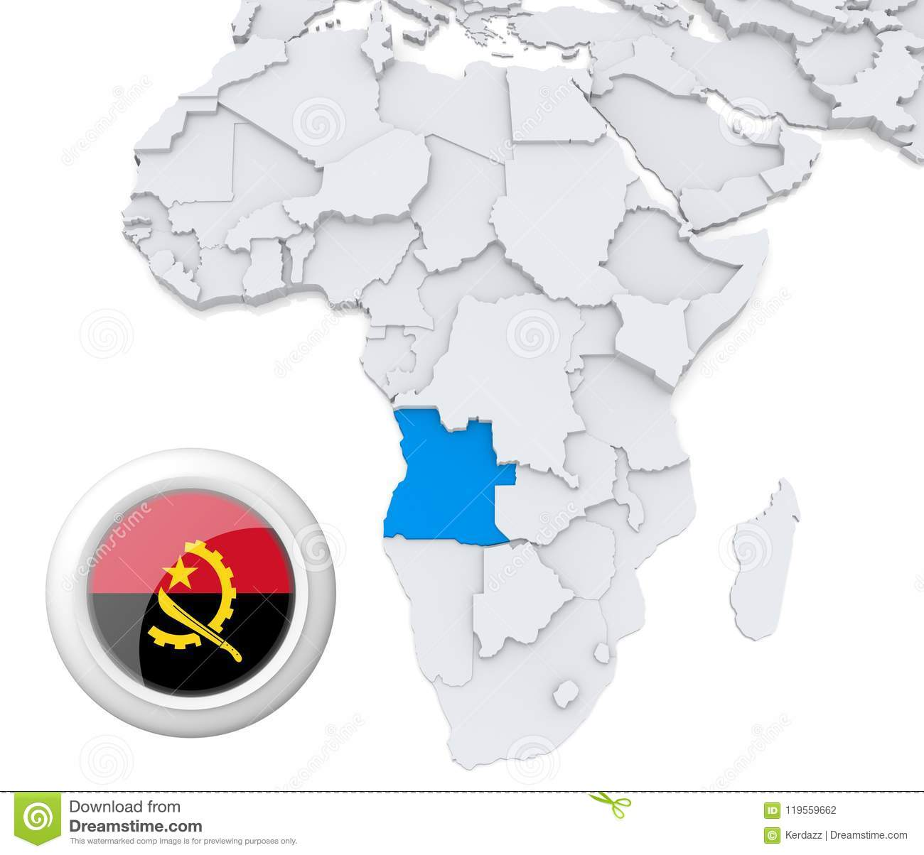 Angola On Africa Map.Angola On Africa Map Stock Illustration Illustration Of Politics