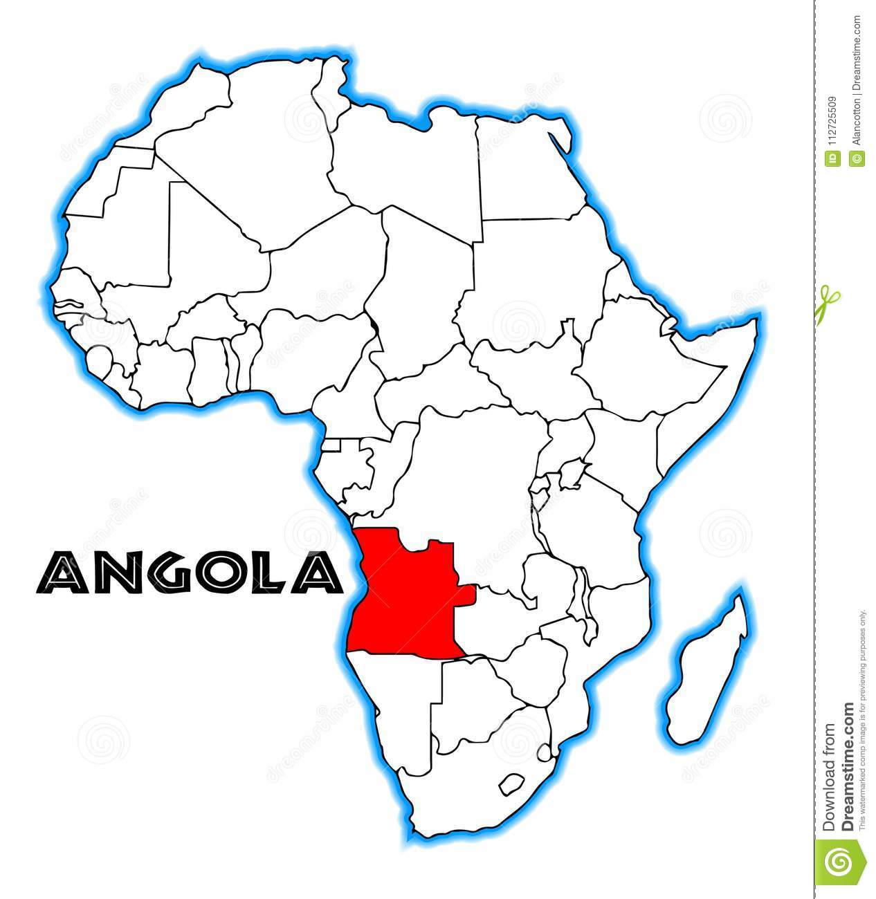Angola Africa Map stock vector. Illustration of vector   112725509
