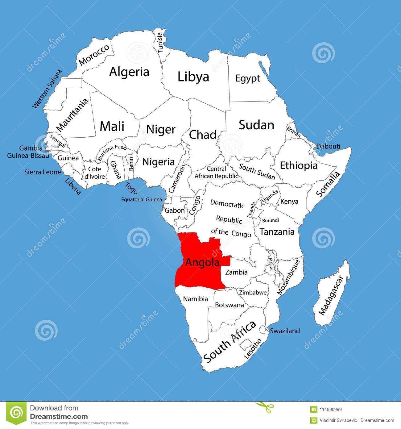 Angola Map Silhouette Isolated On Africa Map. Editable Map Of