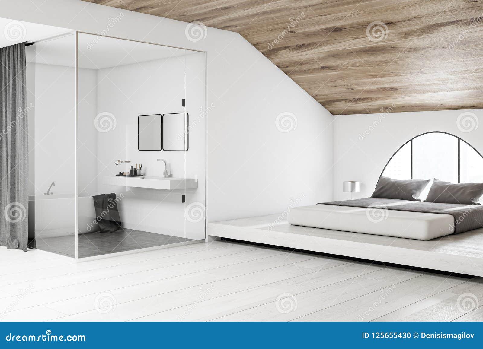 Soffitti In Legno Bianco : Angolo bianco della camera da letto della soffitta bagno soffitto