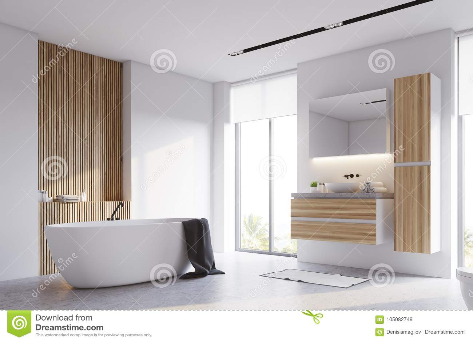 Bagno Legno Bianco : Angolo bianco e di legno del bagno illustrazione di stock