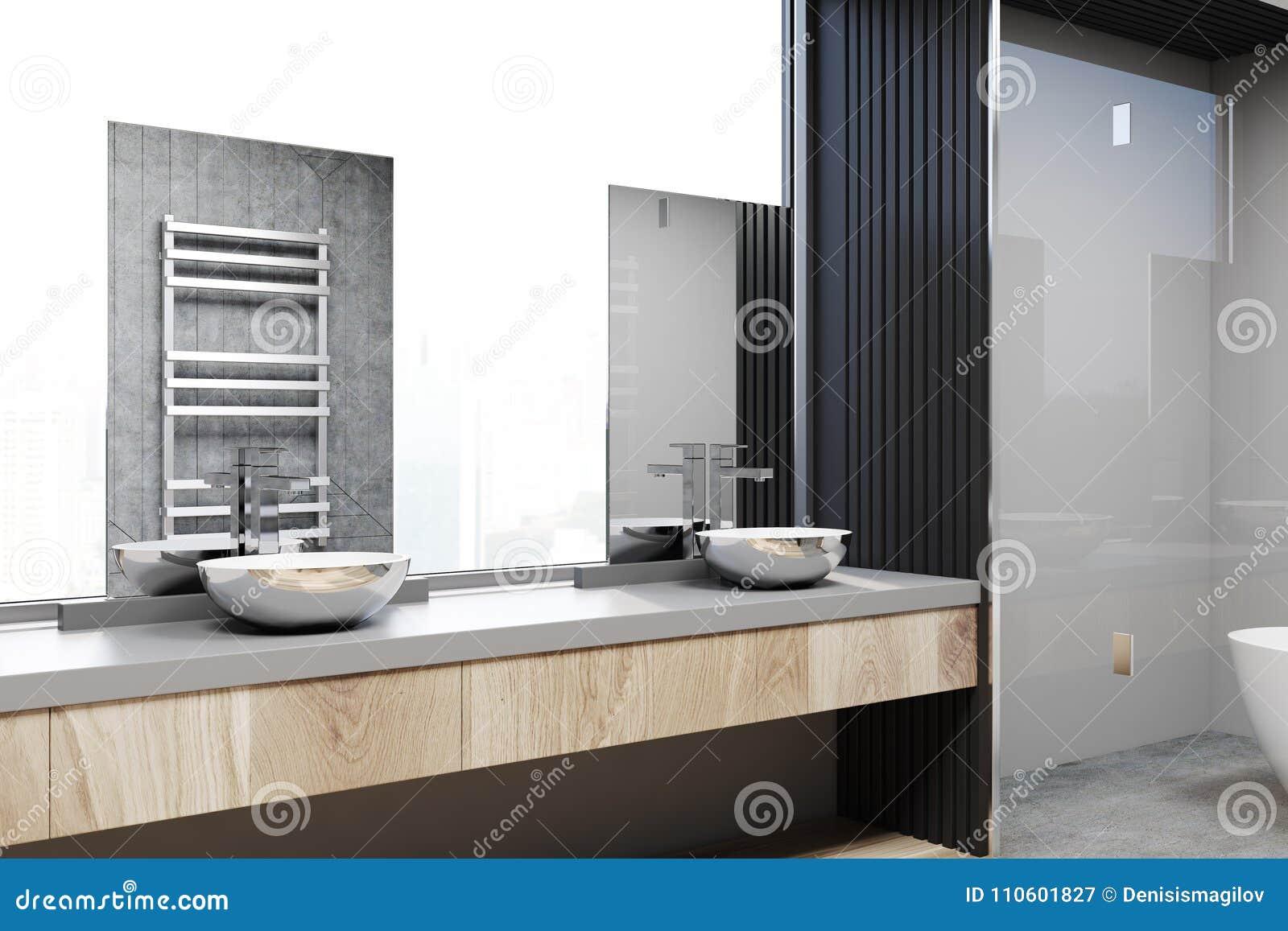 Angolo bianco e grigio del bagno doppio lavandino illustrazione