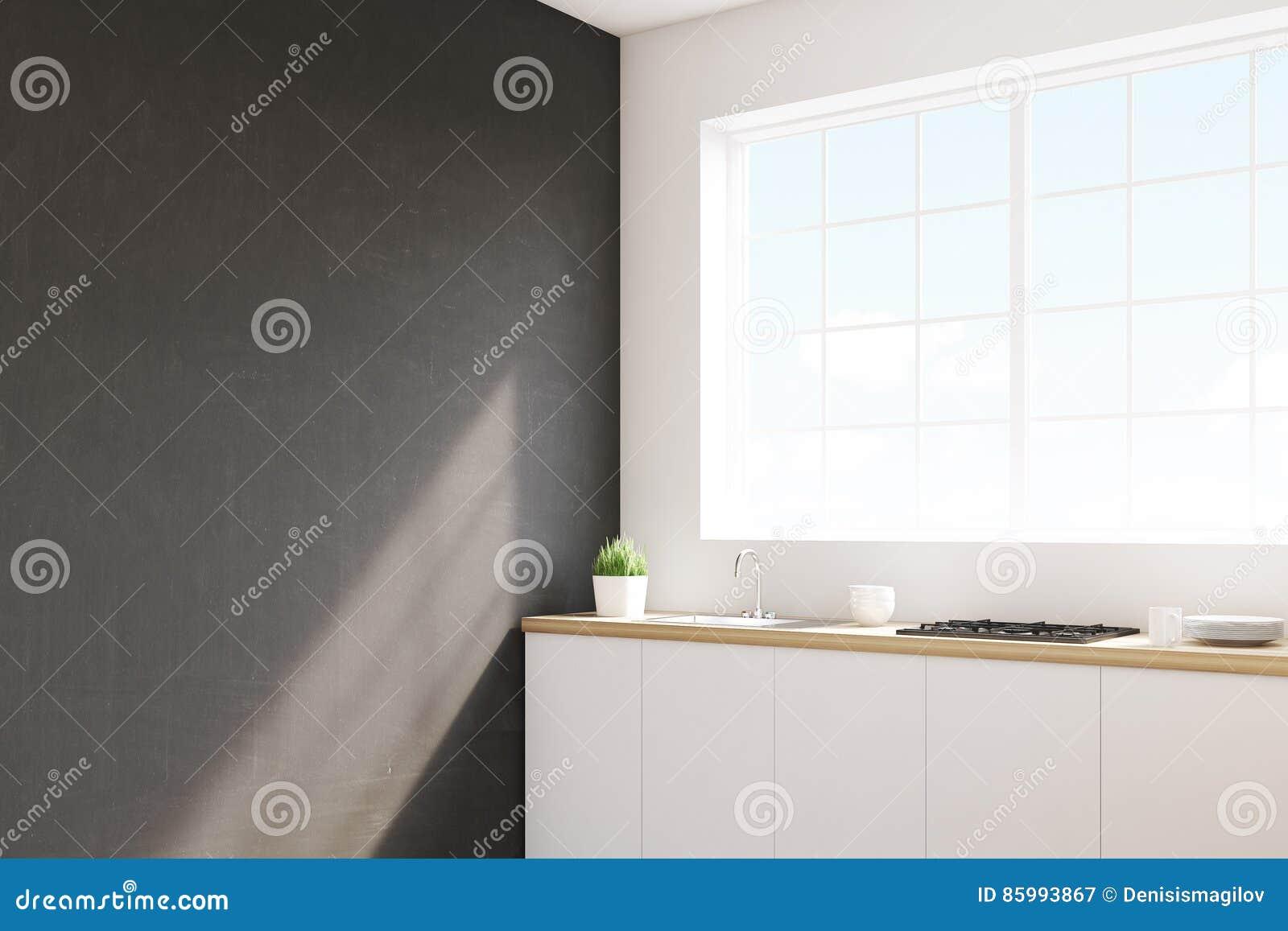 Angolo della cucina nera della parete illustrazione di stock