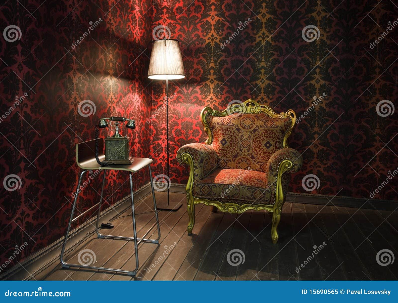 Angolo della stanza con la carta da parati rossa for Carta da parati damascata rossa