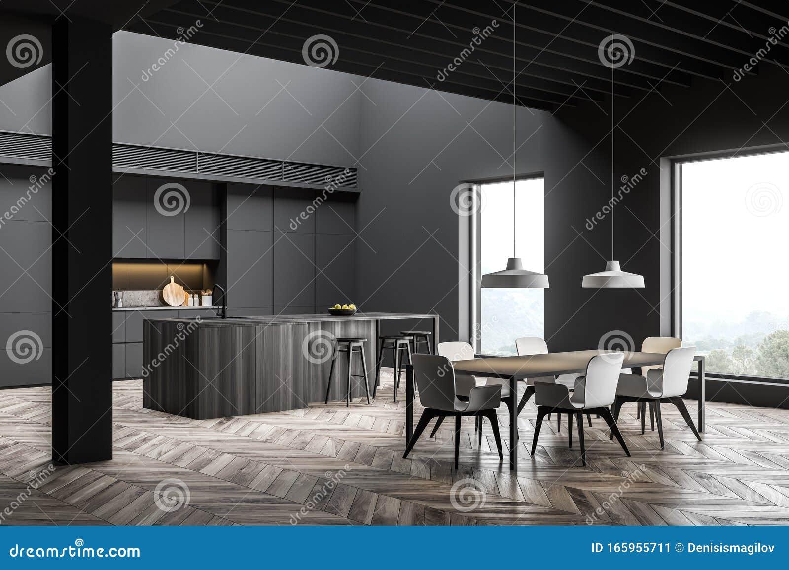 Angolo Di Cucina Grigio Con Bar E Tavolo Da Pranzo Illustrazione Di Stock Illustrazione Di Nazionale Domestico 165955711