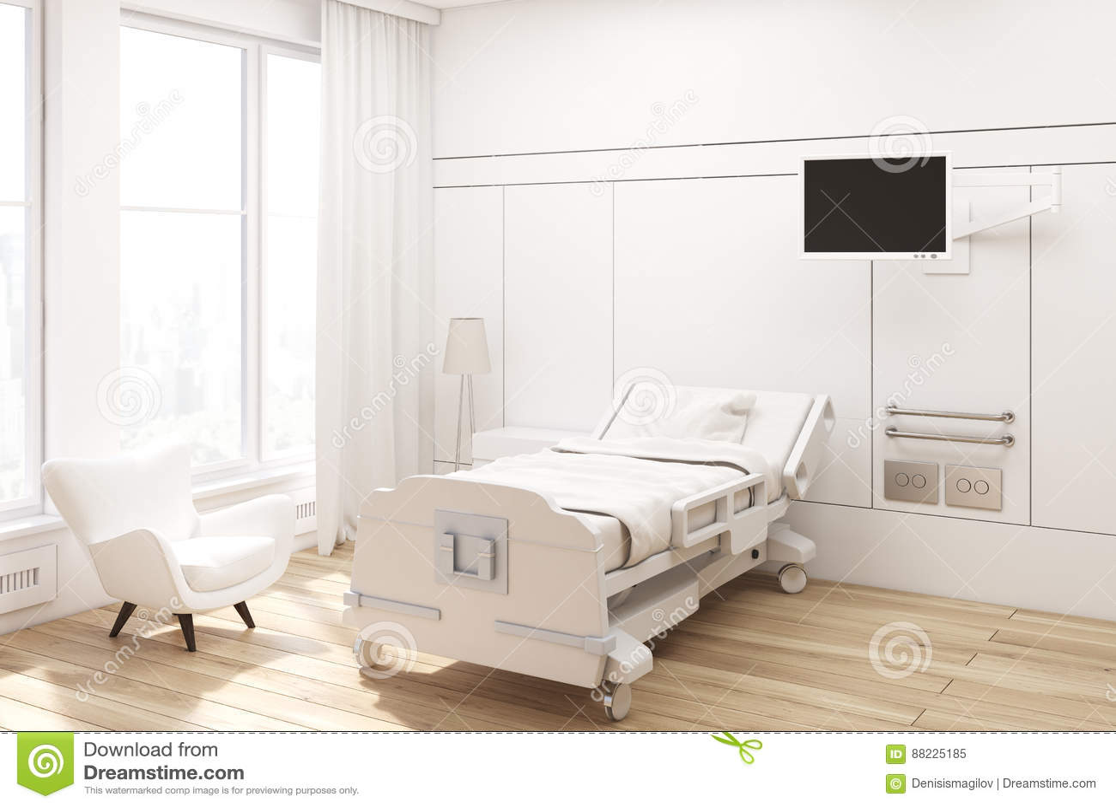 Angolo Letto Ospedale : Angolo di un reparto di ospedale illustrazione di stock