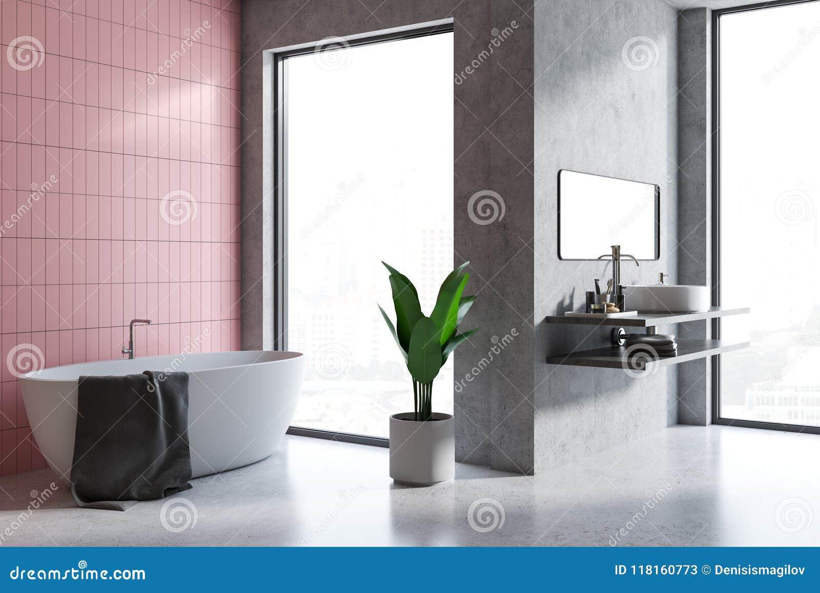 Angolo grigio e rosa del bagno delle mattonelle illustrazione di