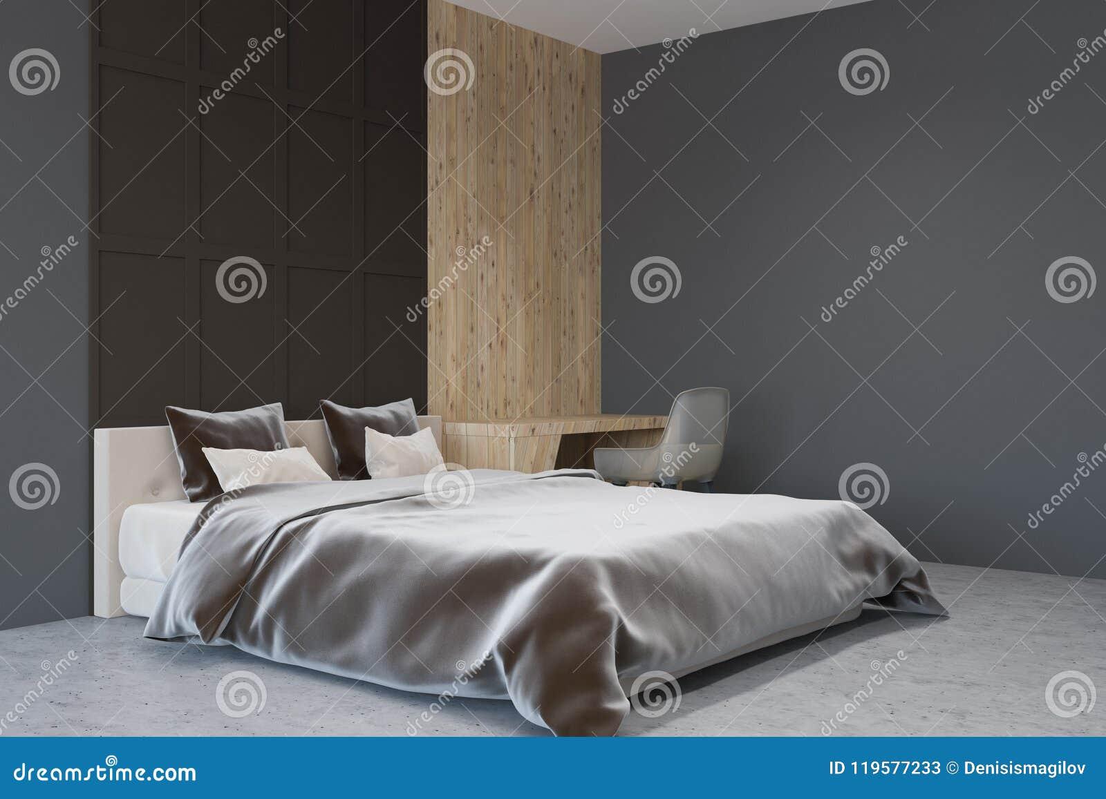 Angolo Del Letto : Angolo grigio scuro della camera da letto di stile di scandi