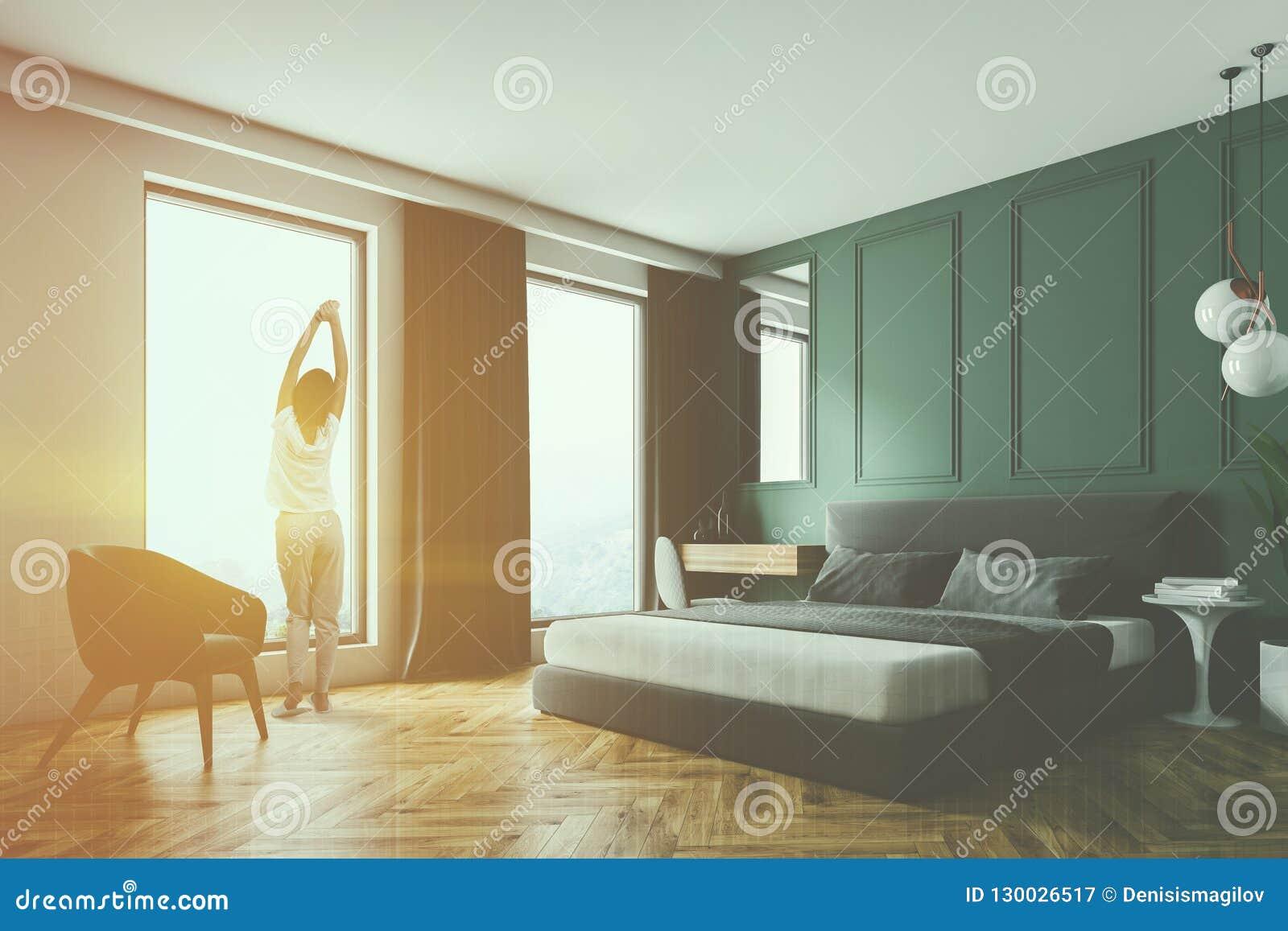 Camera Da Letto Verde E Nera : Angolo verde della camera da letto della parete poltrona donna