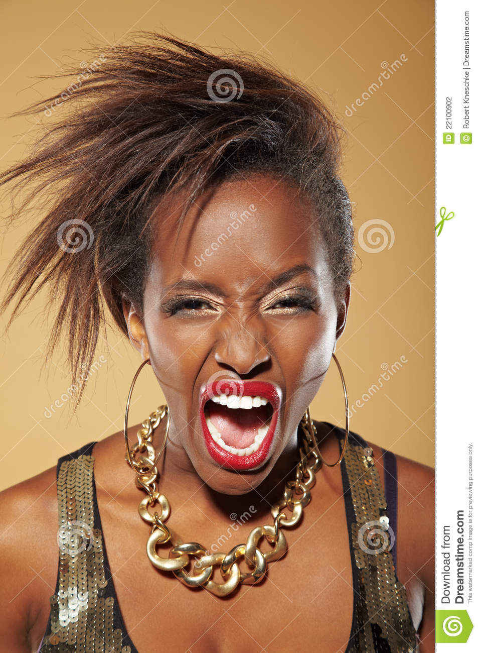 Angry African Woman Screaming Stock Photography - Image ...