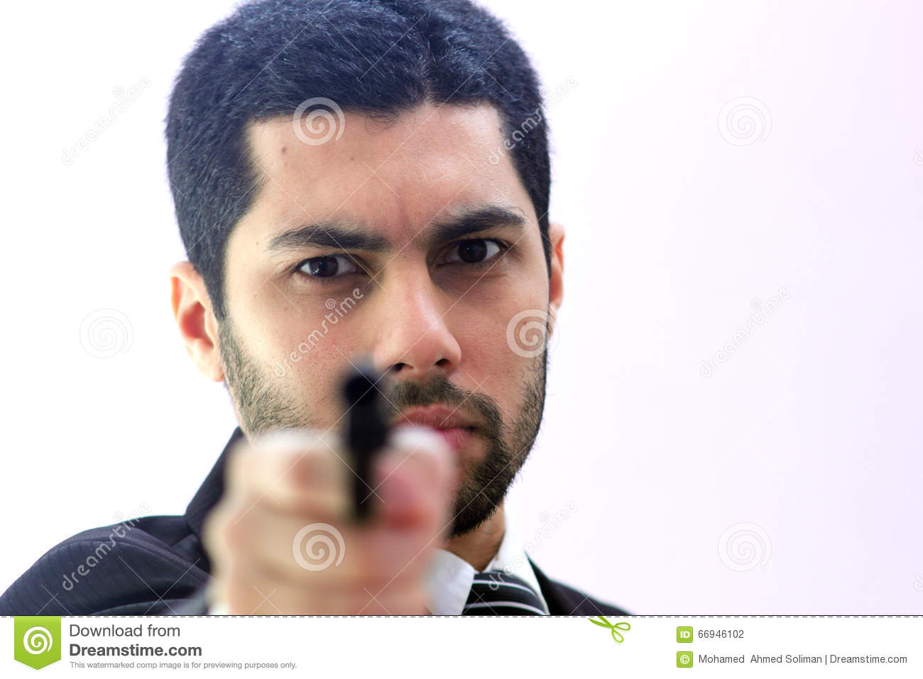 Angry arab business man with gun ready to kill