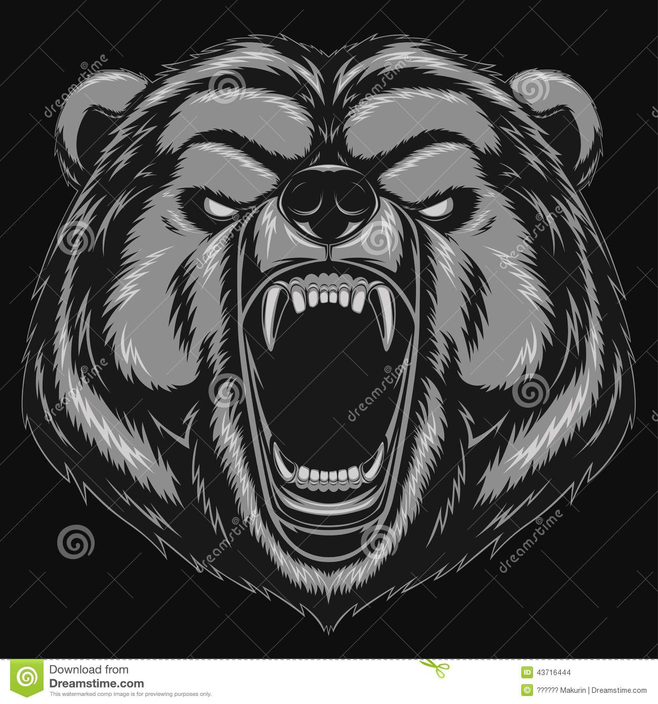 Angry Bear Head Mascot Stock Vector. Image Of Attack
