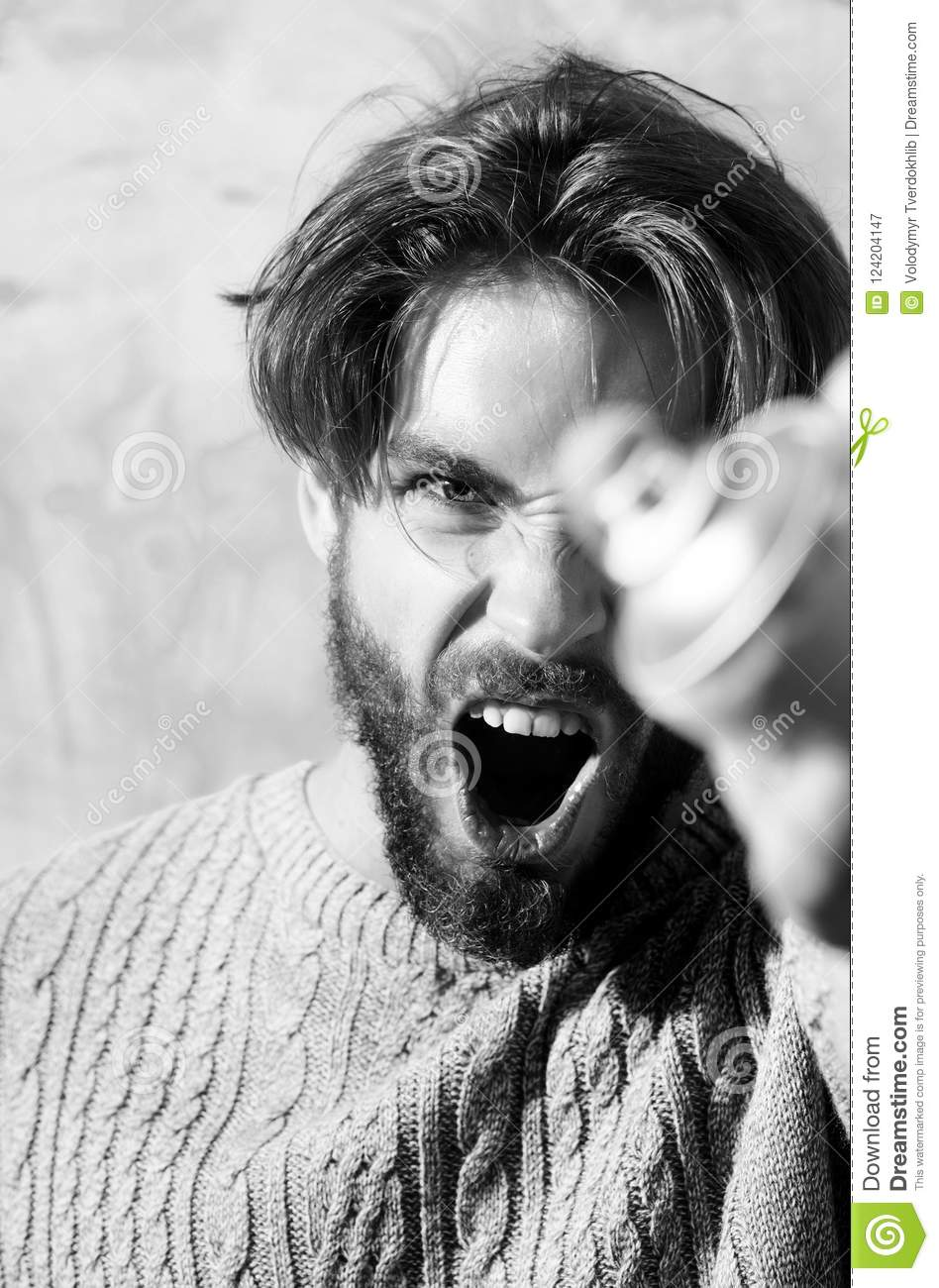 Angry Bearded Man Shouting With Aerosol Spray Paint Can