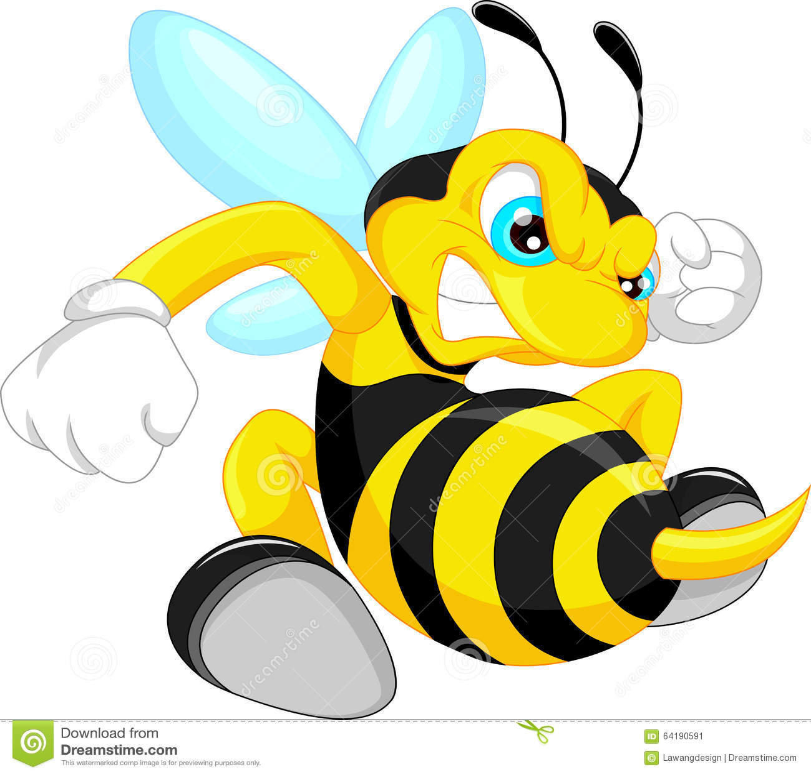 Angry Bee Cartoon Stock Vector