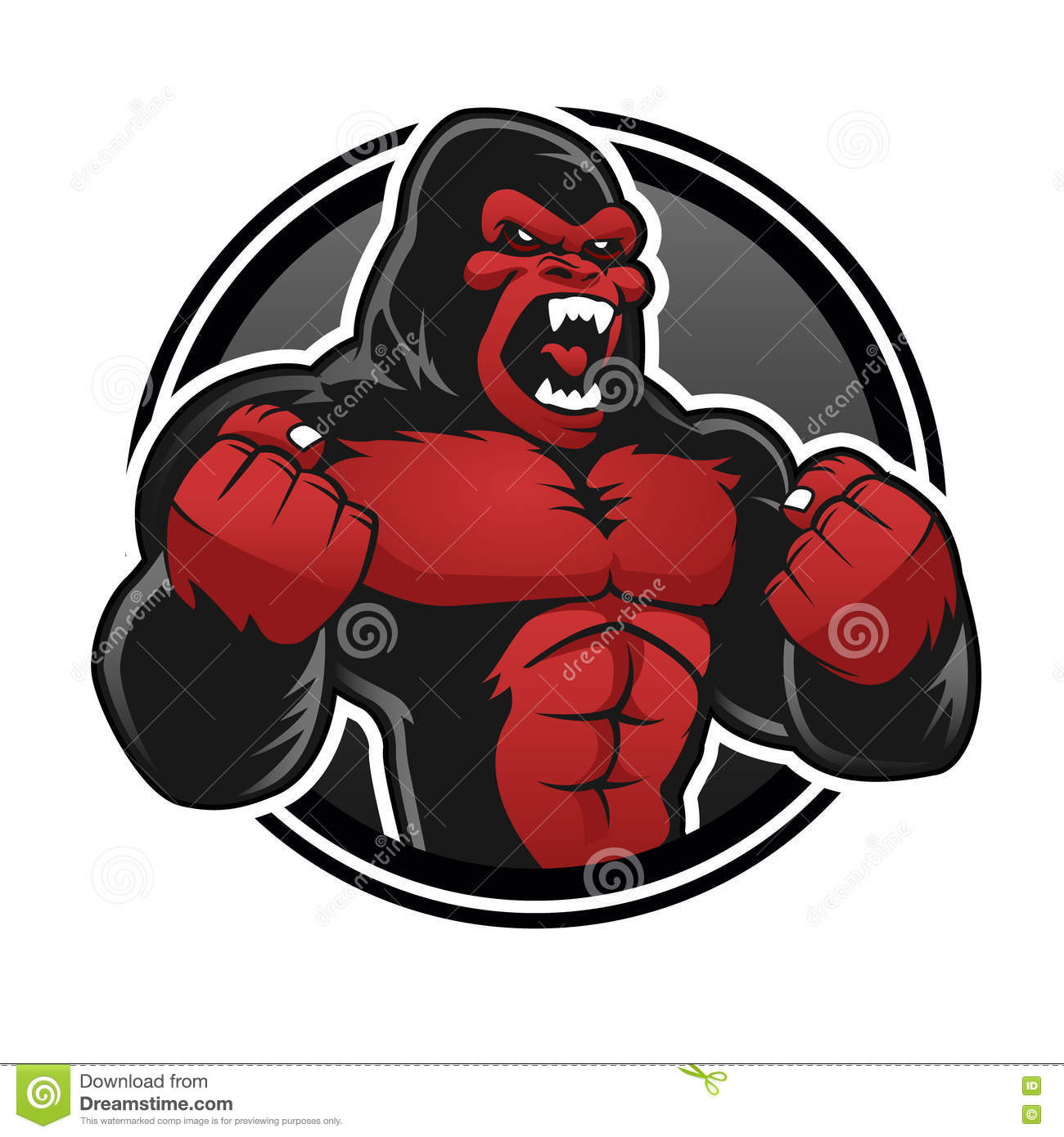 Angry big gorilla.Red gorilla
