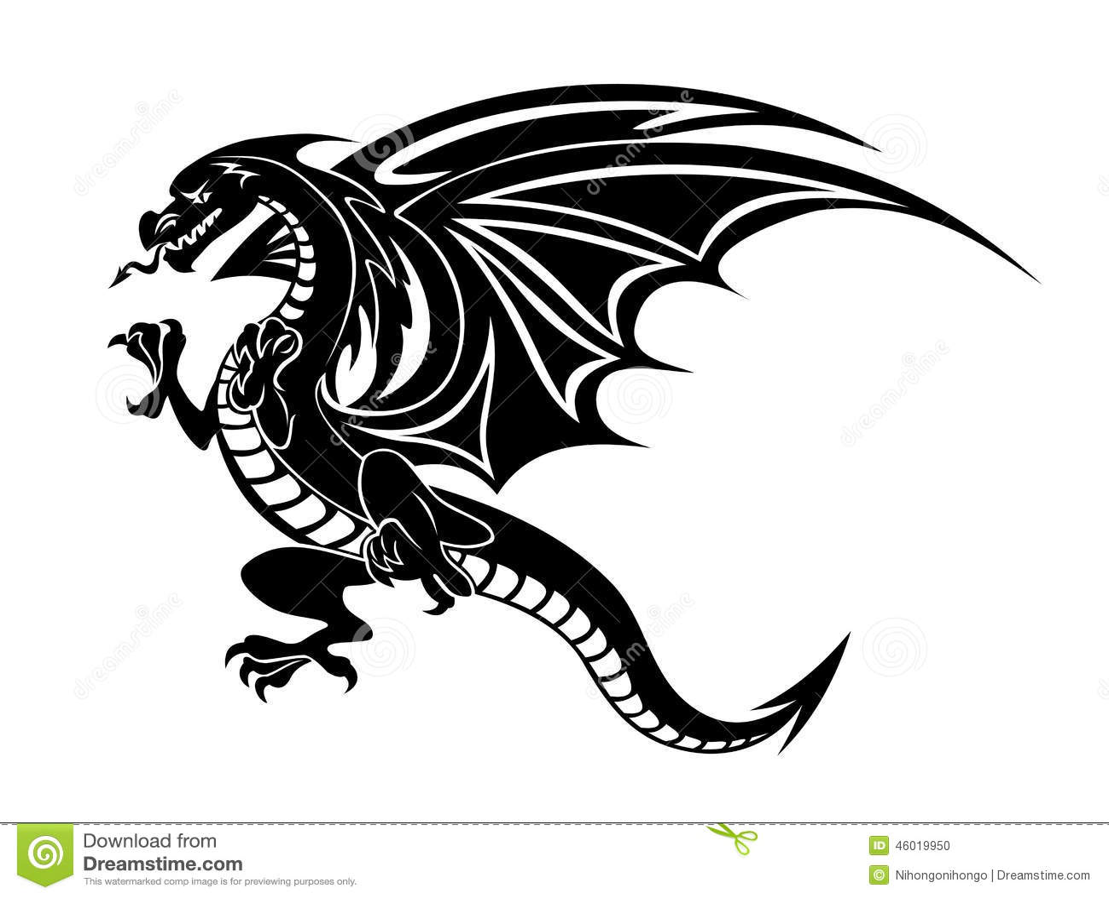 8f7c5bdc47f2f Angry black dragon stock vector. Illustration of design - 46019950