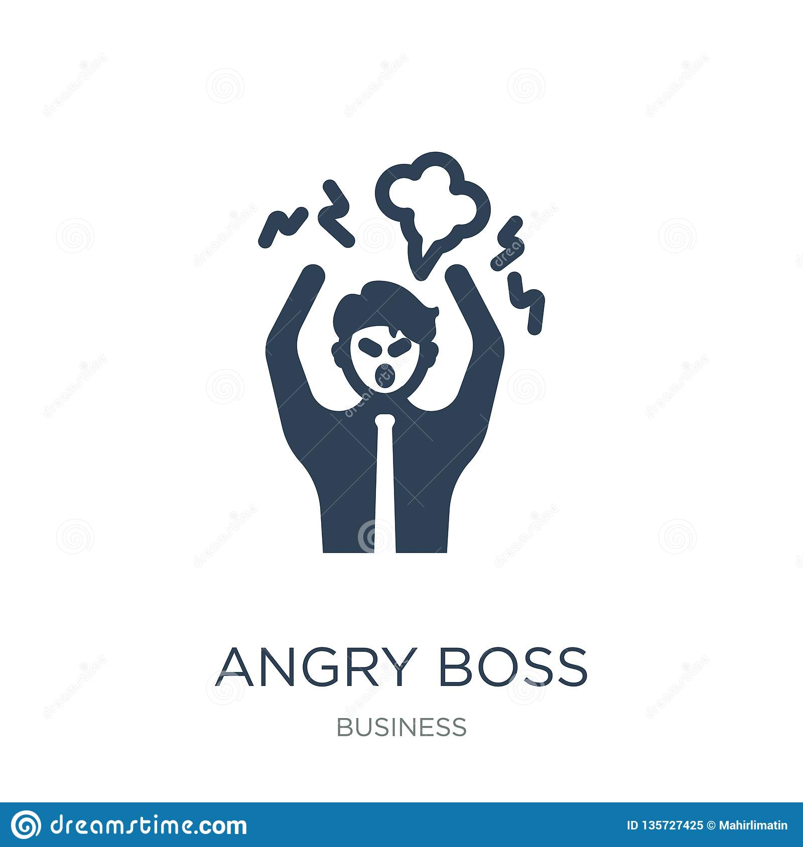 angry boss icon in trendy design style. angry boss icon isolated on white background. angry boss vector icon simple and modern