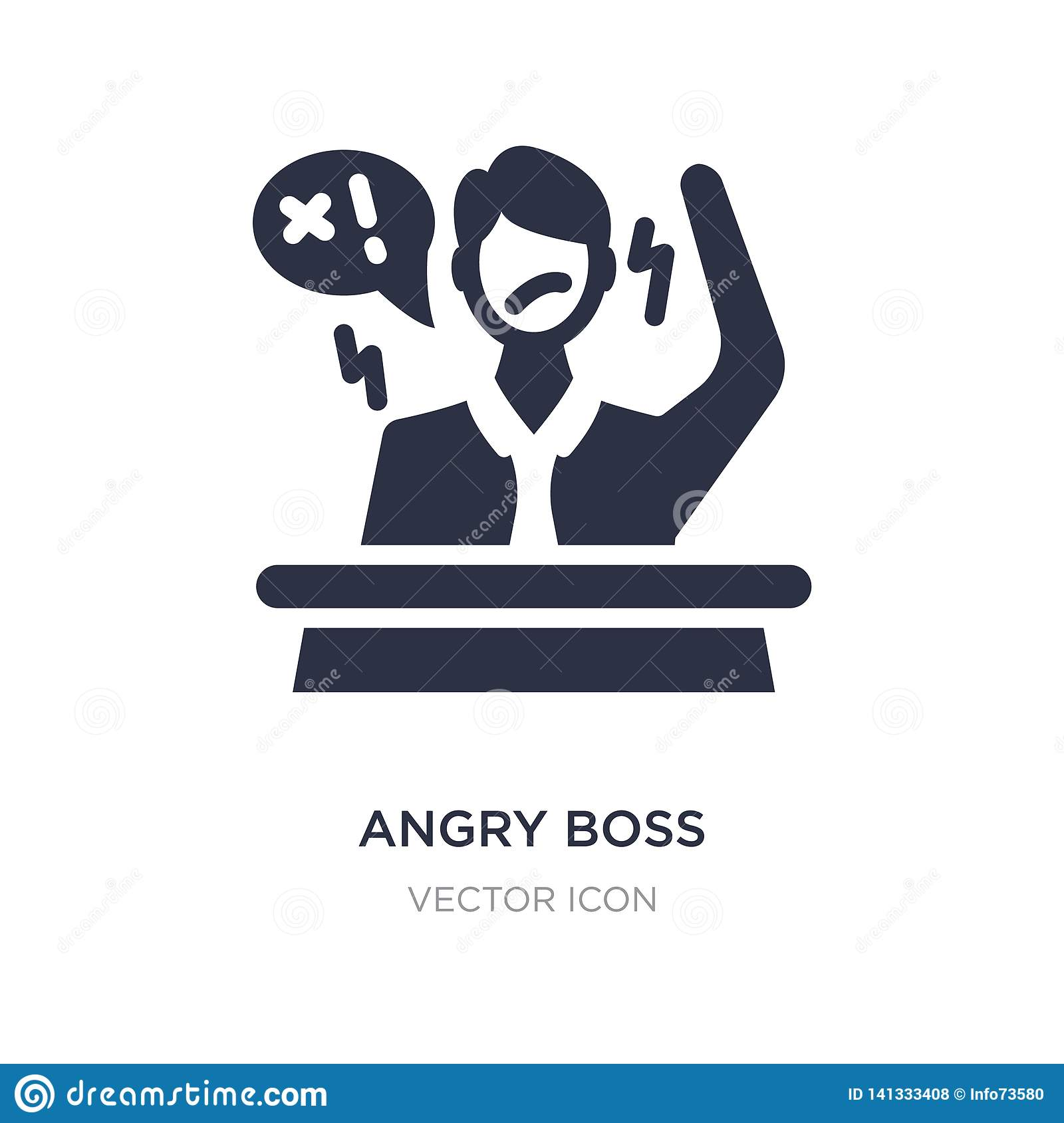 angry boss icon on white background. Simple element illustration from Business concept