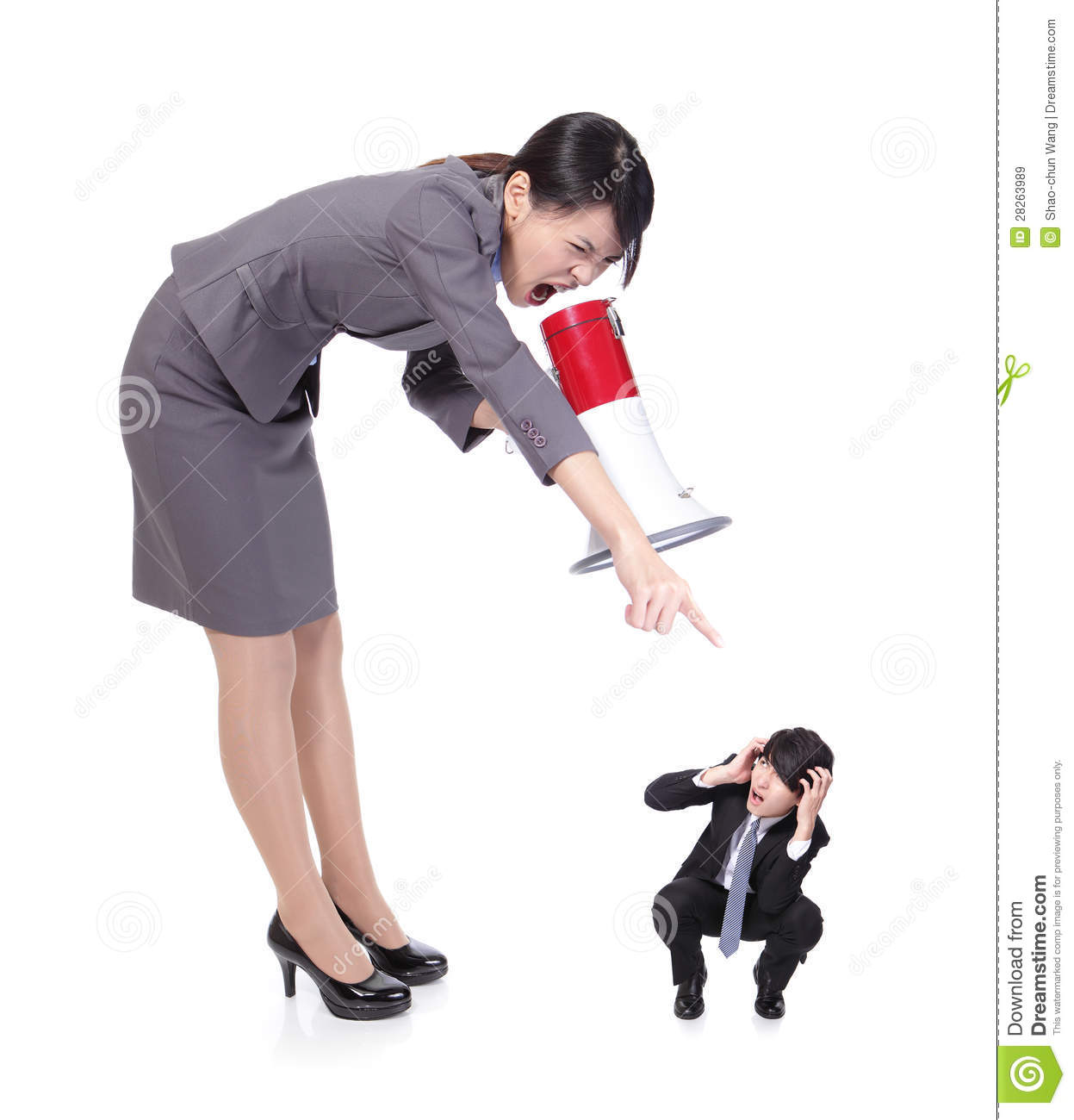 Angry Boss With Megaphone Yelling To Staff Royalty Free Stock ...