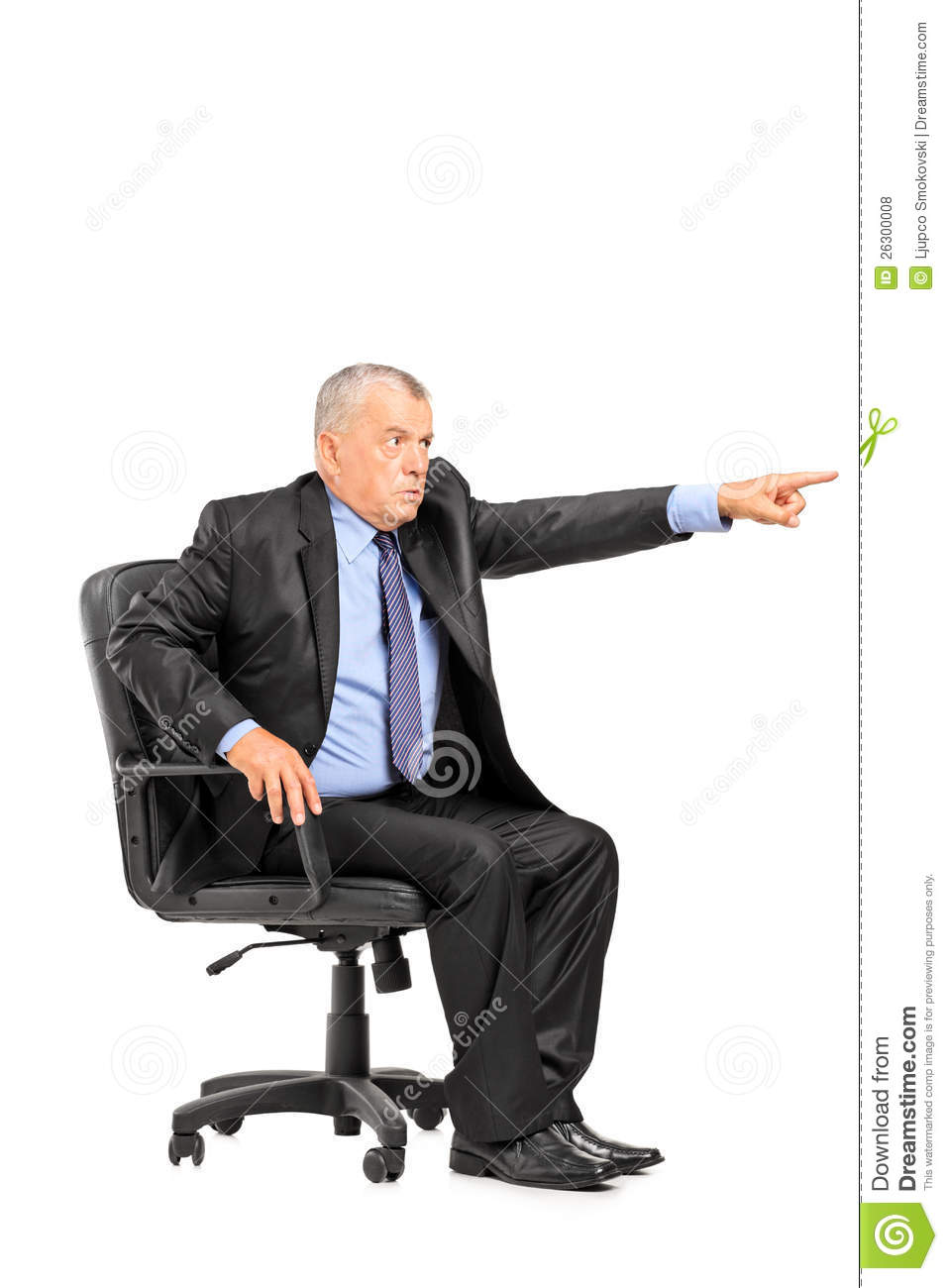Angry boss sitting in armchair and pointing royalty free for Sitting in armchair