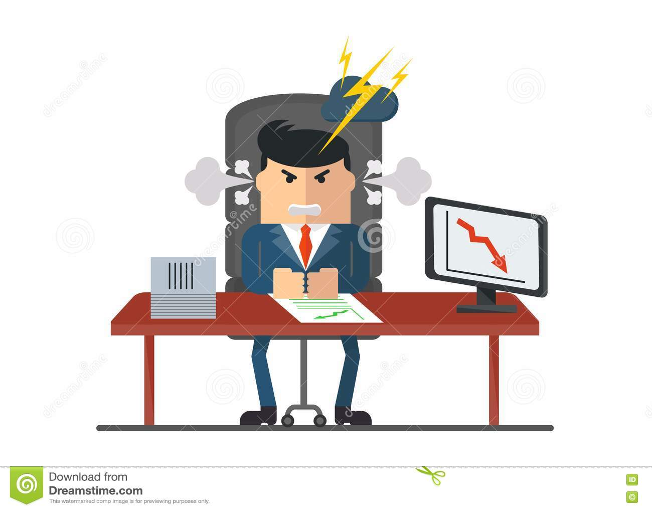mean boss sign stock photo image  angry boss sitting at the table royalty stock images