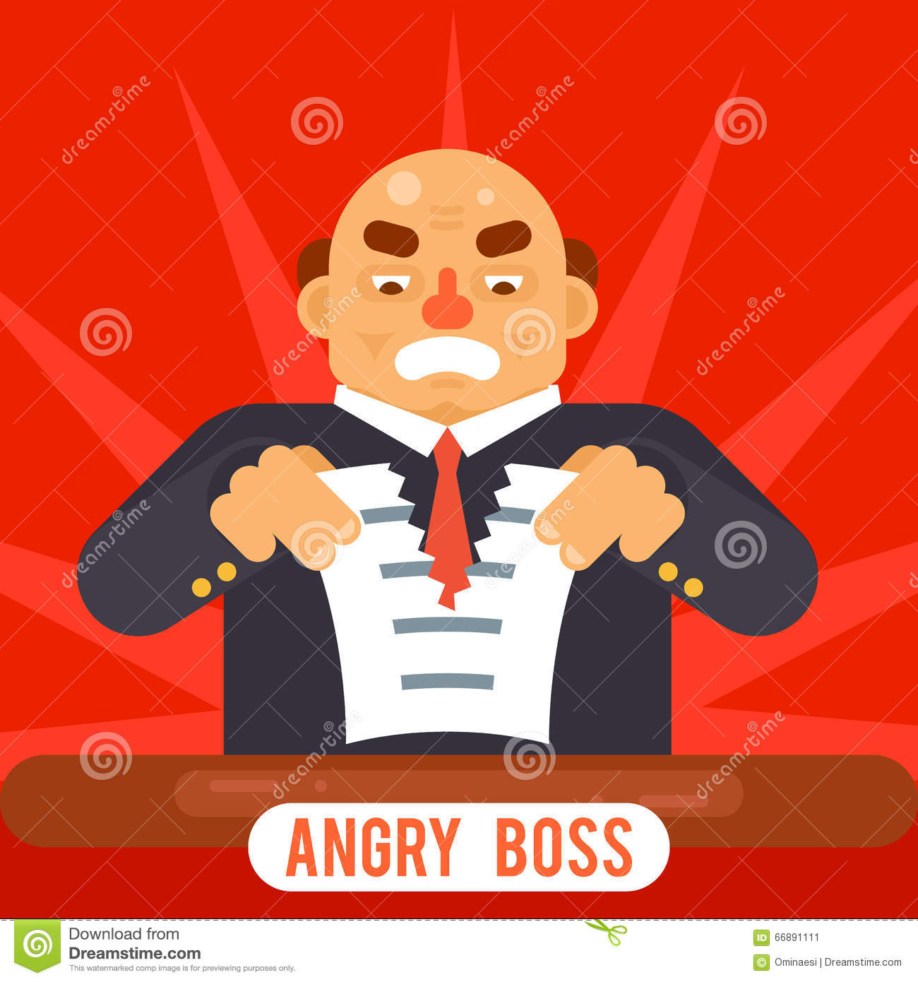 angry boss tearing sheet white paper contract character symbol