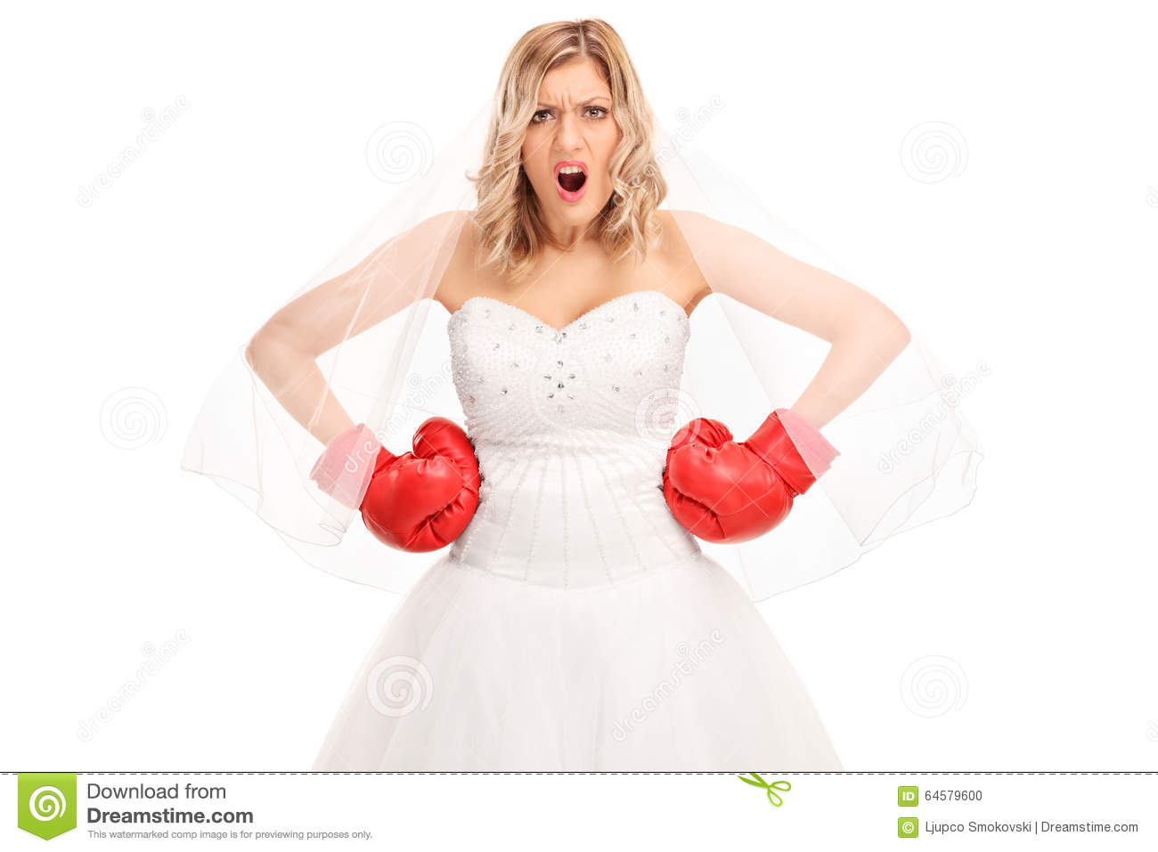 angry bride in a wedding dress and boxing gloves stock With boxing wedding dress