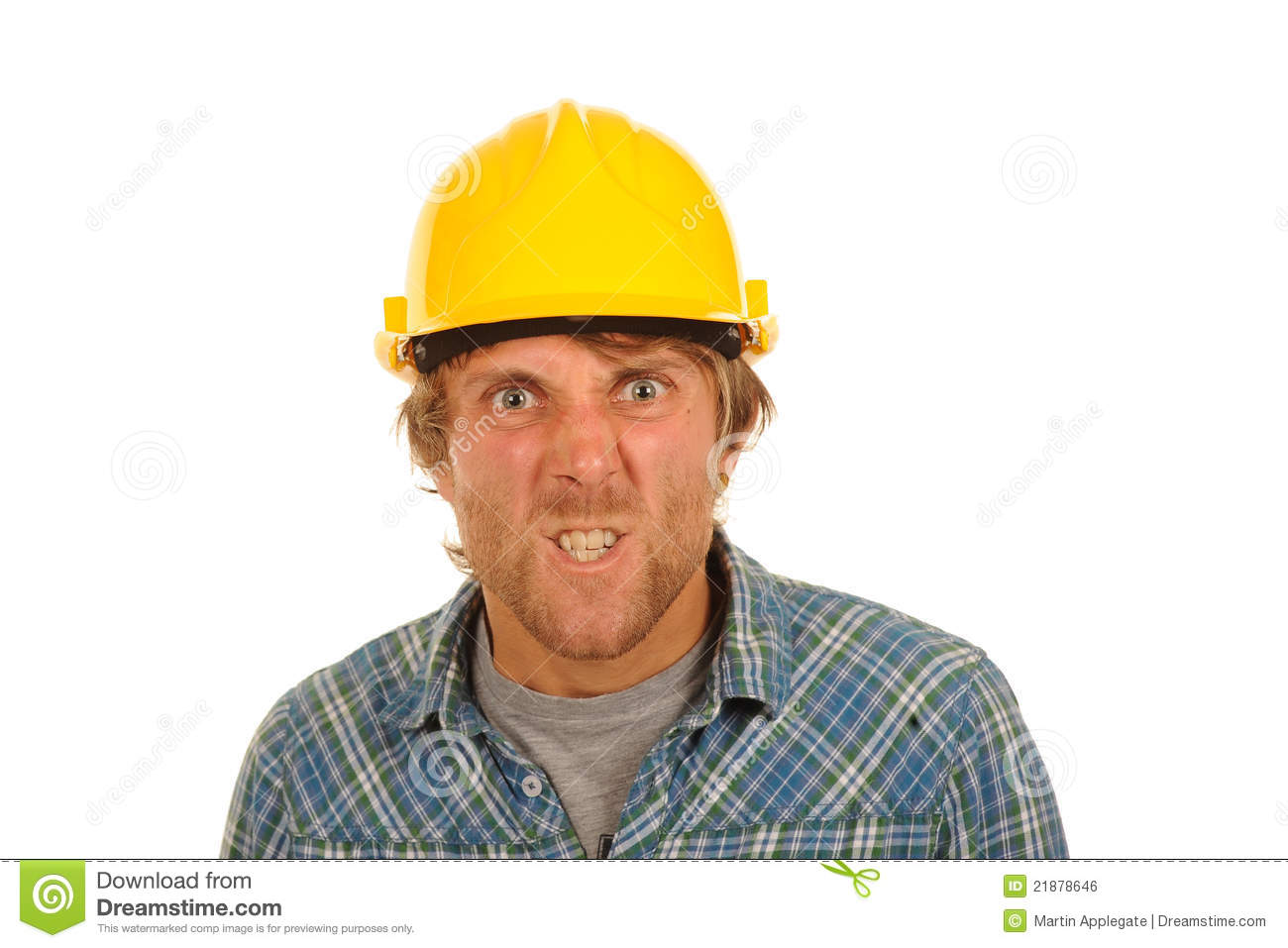 Free angry man at work isolated on white background Where to find a builder